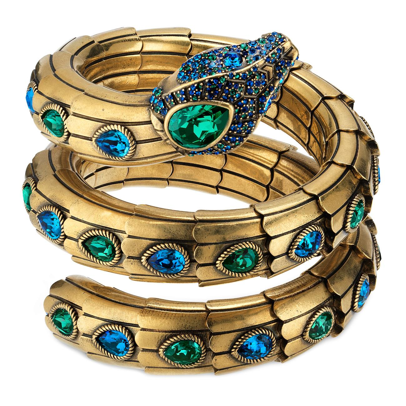 7a0f75bf4 Gucci Triple Wrap Snake Bracelet With Crystals in Blue - Lyst