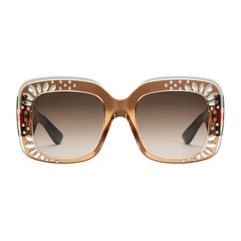 cb2f6e1ada07 Gucci Oversize Square-frame Rhinestone Sunglasses in Brown - Lyst