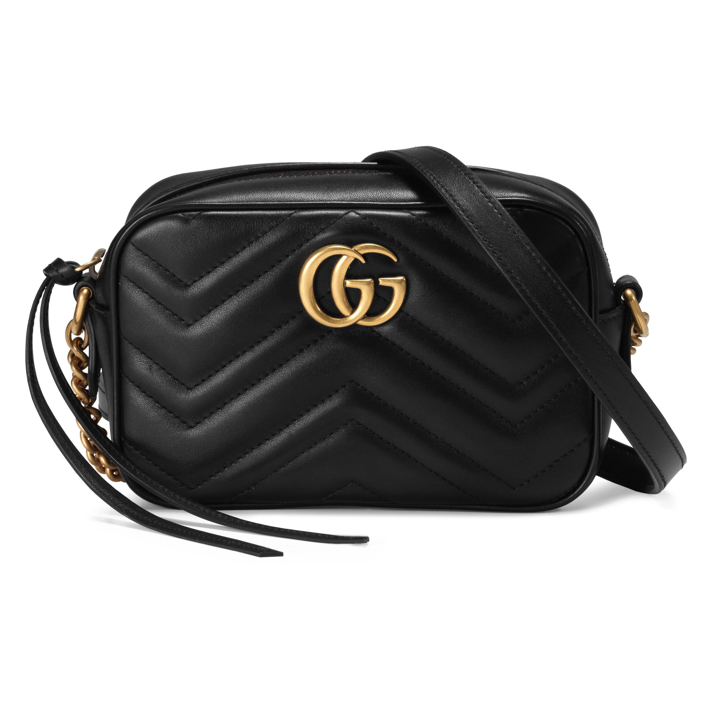 5878fdf88a4 Lyst - Mini sac GG Marmont matelassé Gucci en coloris Noir
