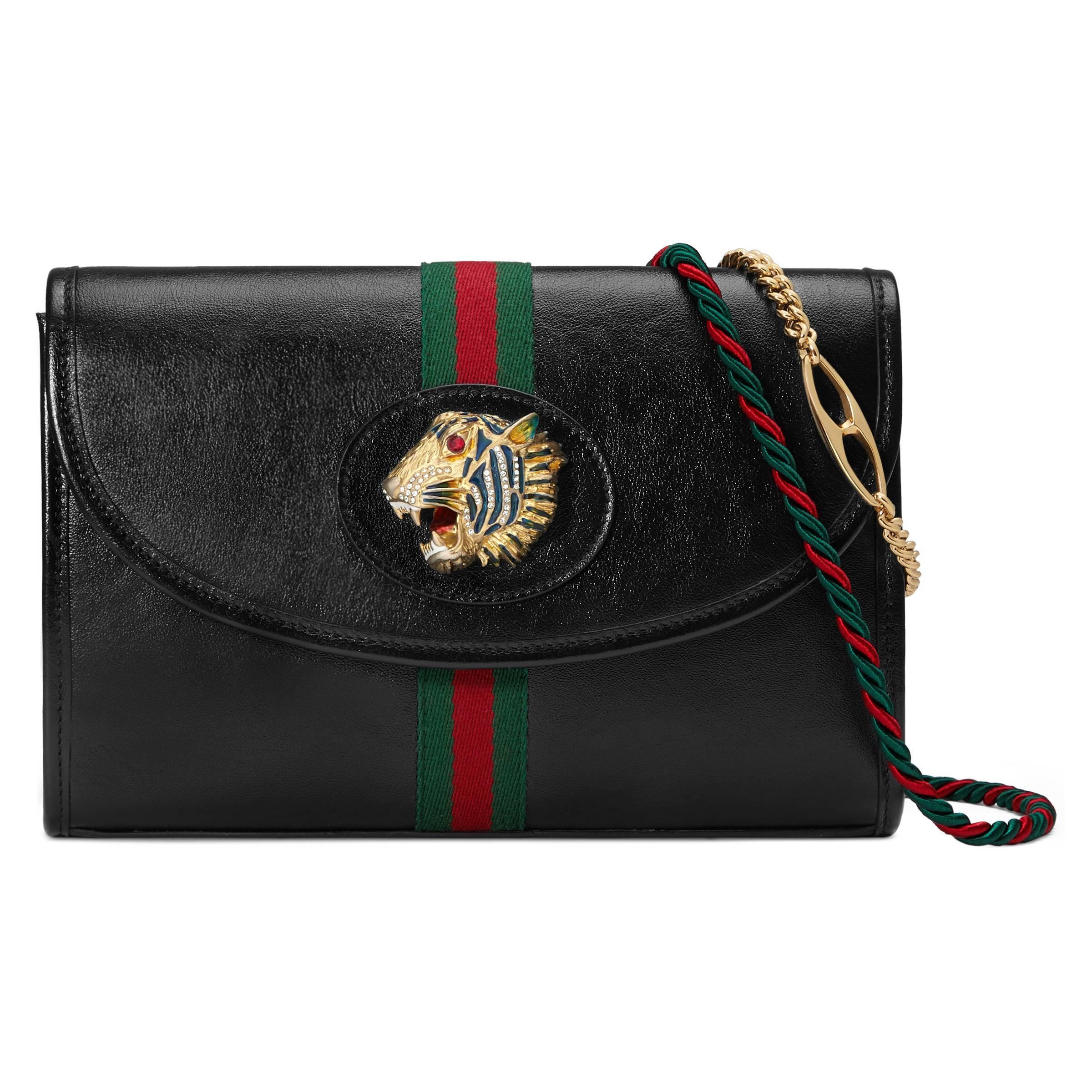 9683fd22c748 Gucci - Black Rajah Small Shoulder Bag - Lyst. View fullscreen