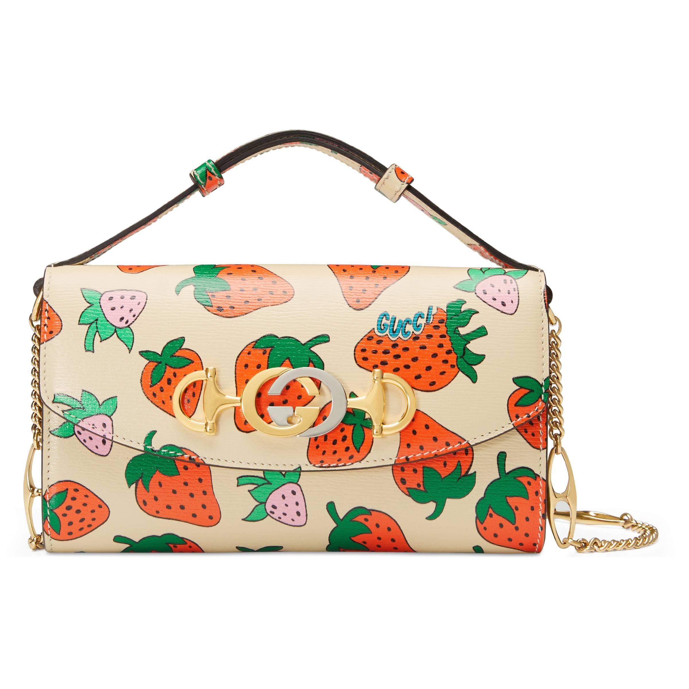 b2c9556fd71 Gucci Zumi Strawberry Print Mini Bag in White - Lyst