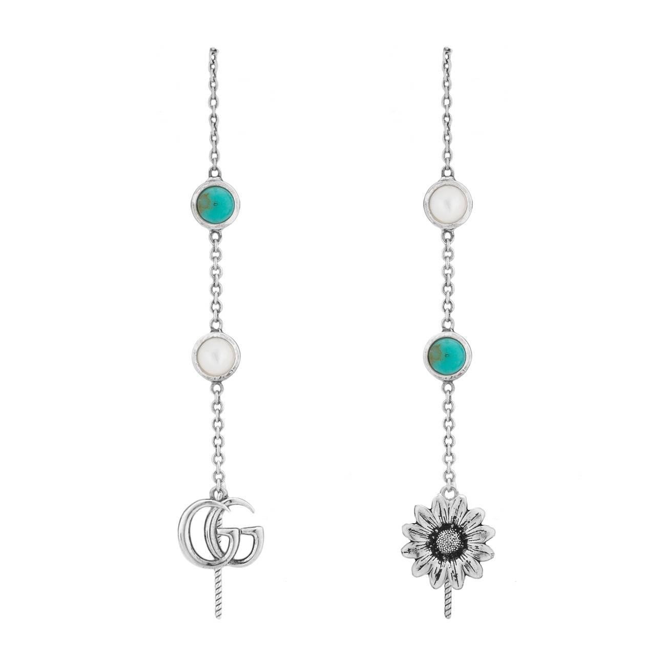 679d77439b6 Lyst - Gucci Double G Flower Drop Earrings