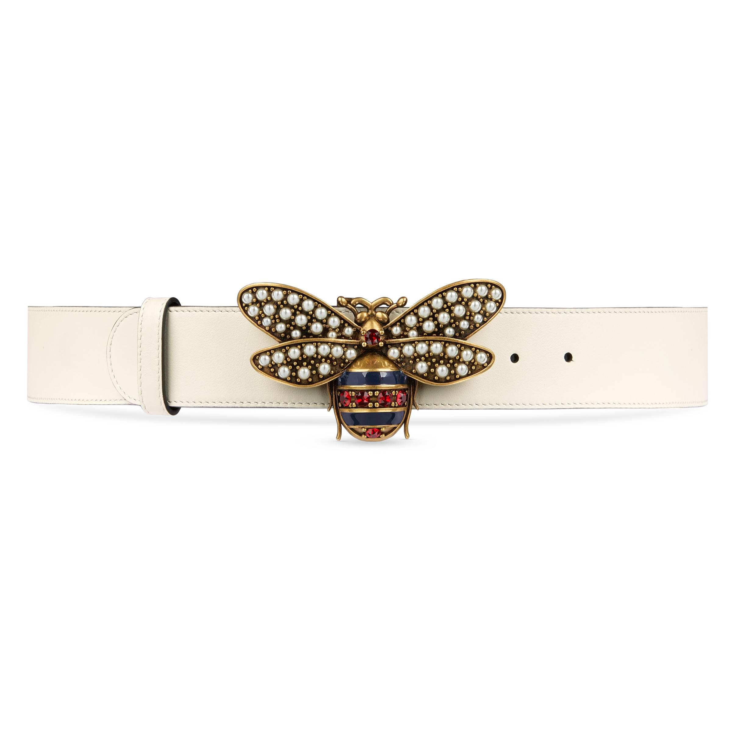 b8ff28851cf7 Gucci Queen Margaret Leather Belt in White - Lyst