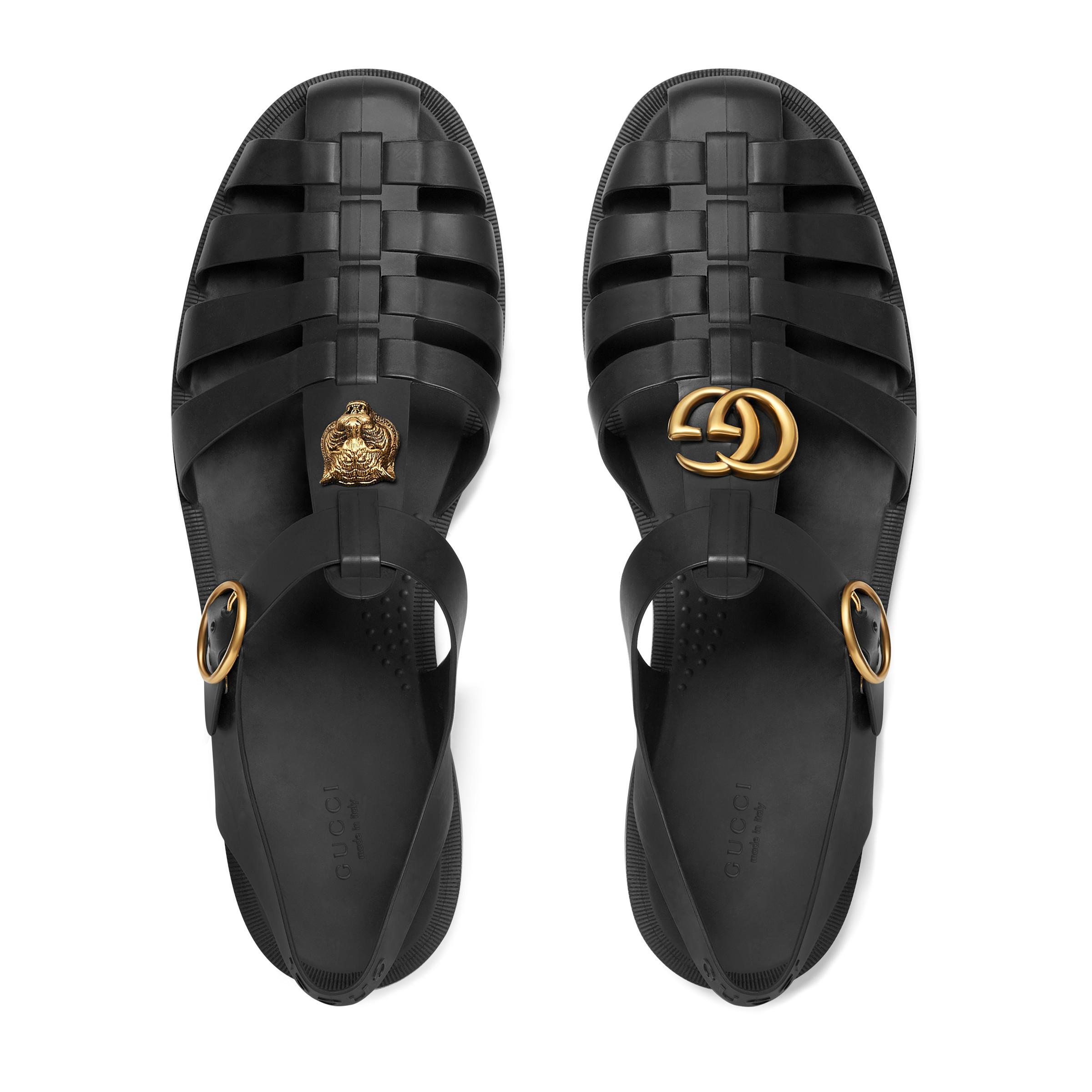 1db5ece631be Gucci - Black Rubber Buckle Strap Sandal for Men - Lyst. View fullscreen