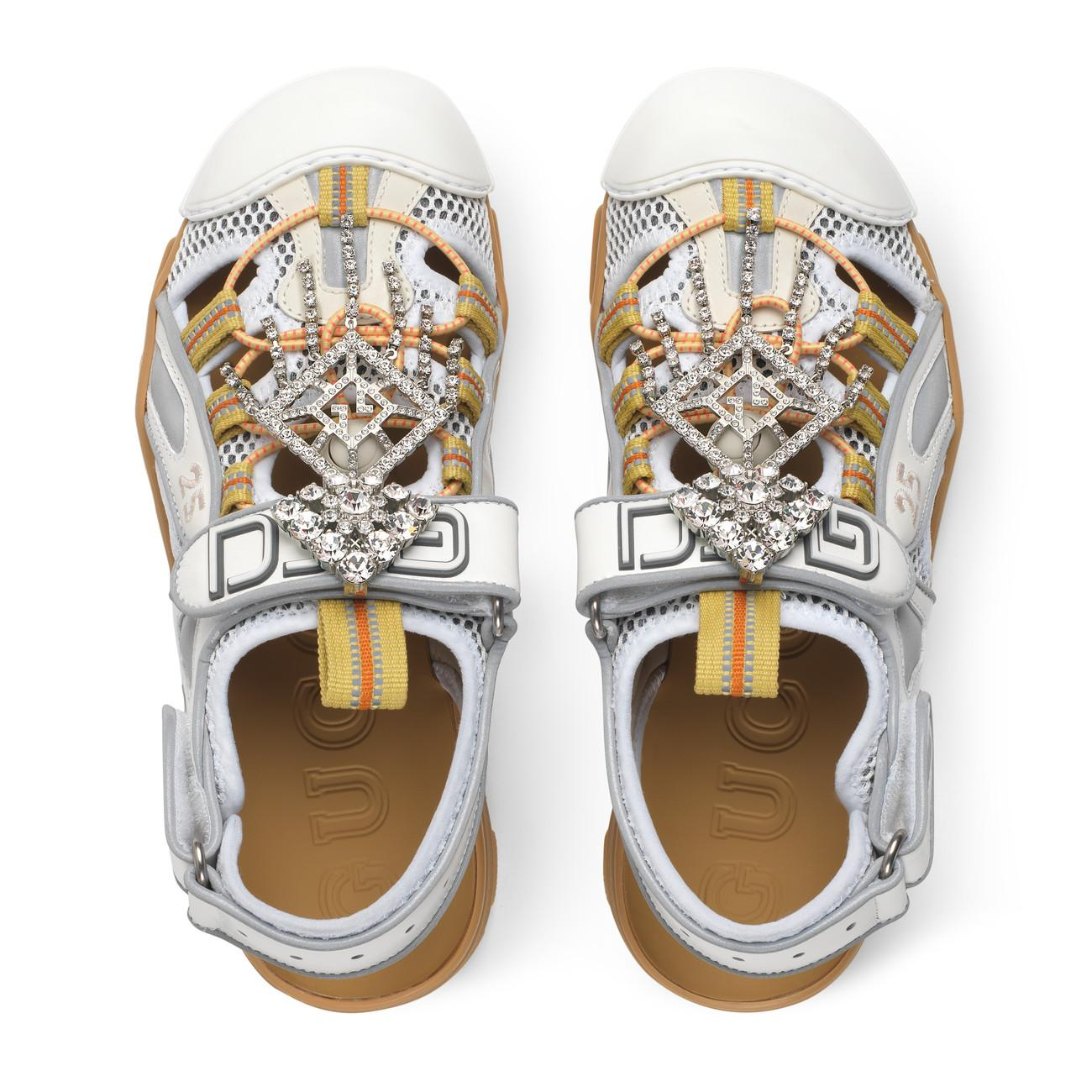 d80a6d4f414 Gucci - White Women s Leather And Mesh Sandal With Crystals - Lyst. View  fullscreen