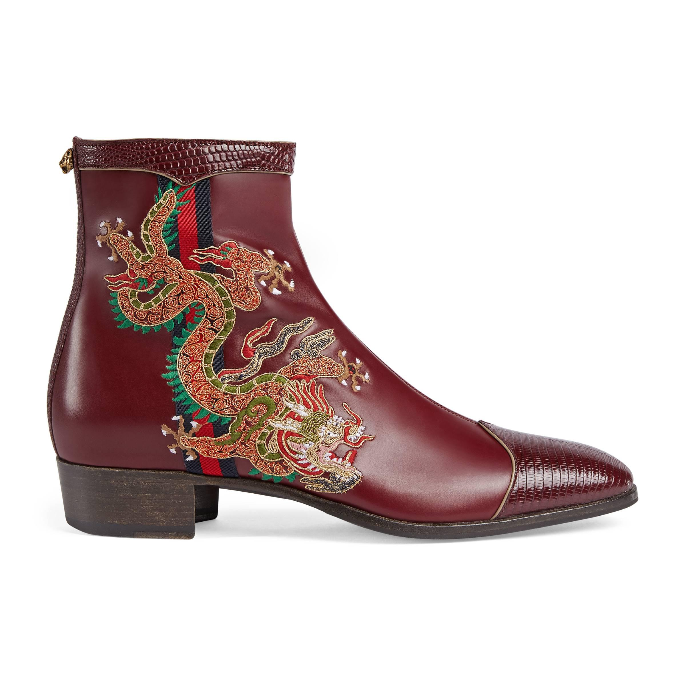 17fb8aed6 Gucci Leather Boot With Dragon in Brown for Men - Lyst