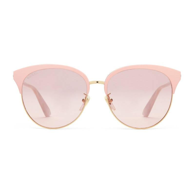 032fe21a84ee Lyst - Gucci Specialized Fit Round-frame Metal Sunglasses in Pink