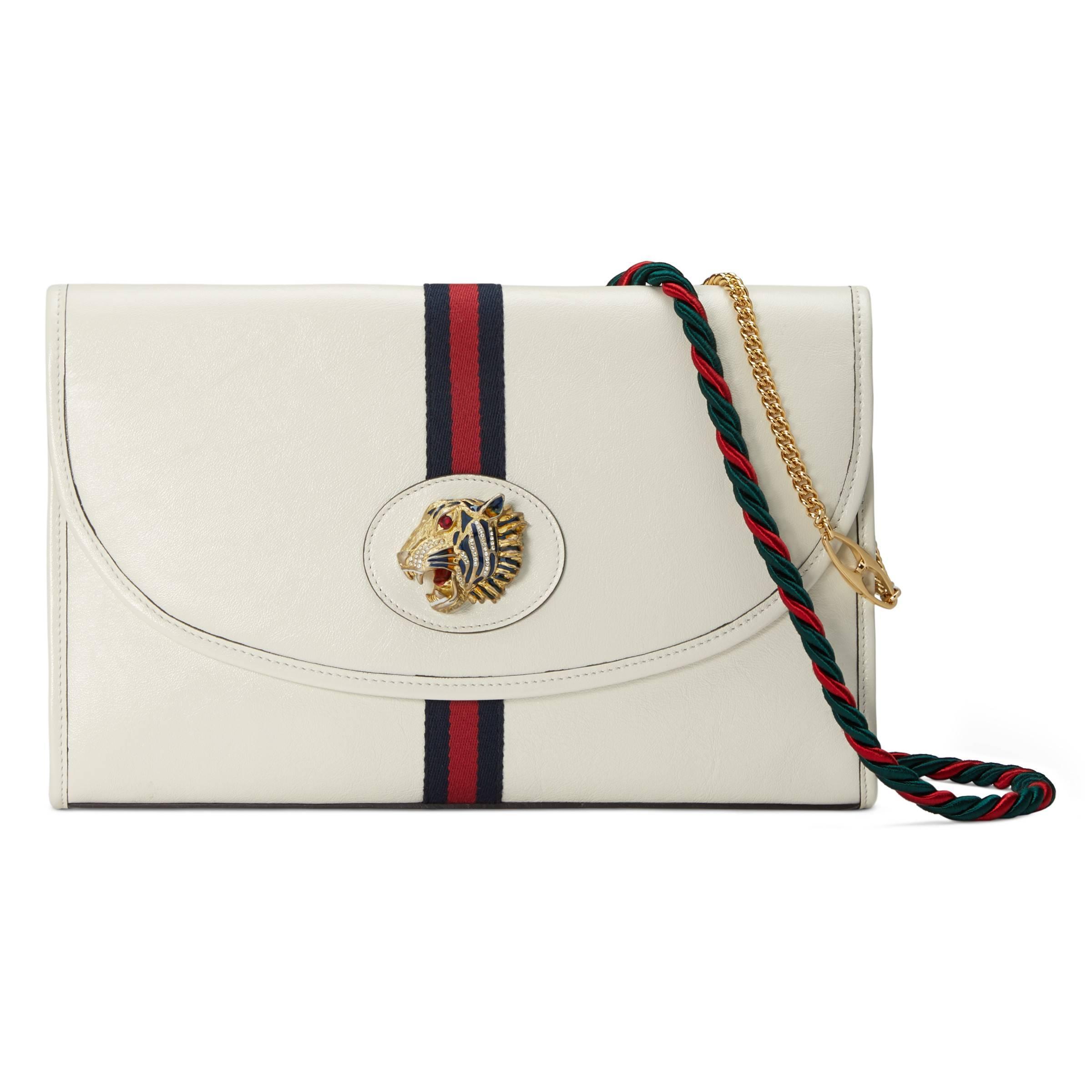 869ba704a5dd Gucci Rajah Medium Shoulder Bag in White - Lyst
