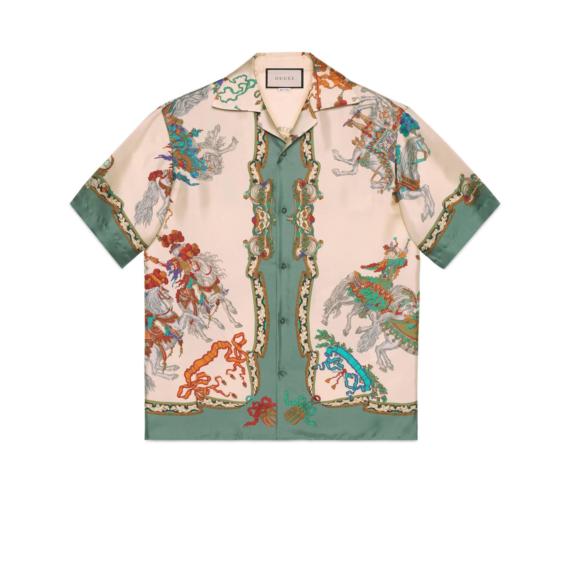 73cd5f09a Gucci - White Graphic-print Oversized Silk Shirt for Men - Lyst. View  fullscreen