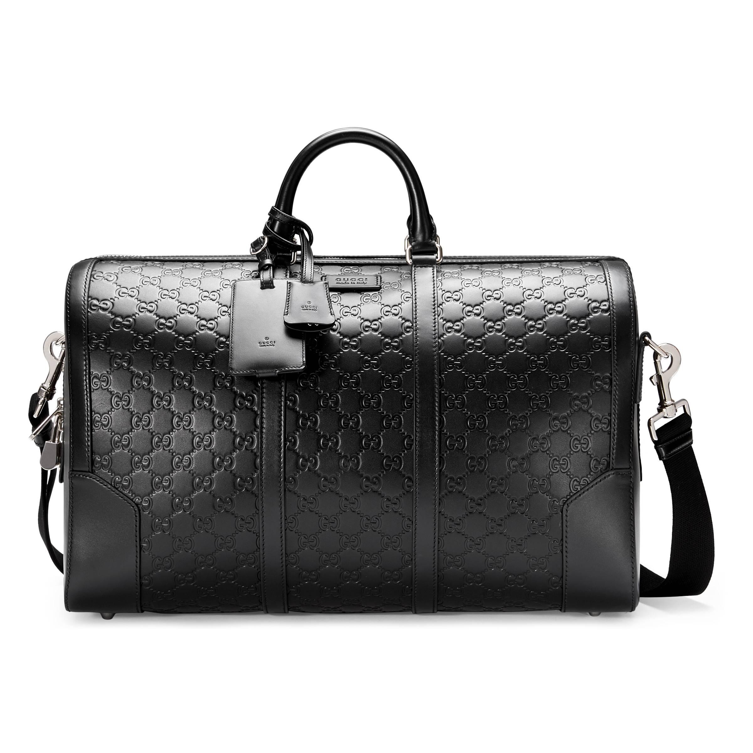 6668db4a3bf Gucci Signature Leather Duffle in Black for Men - Save 26% - Lyst