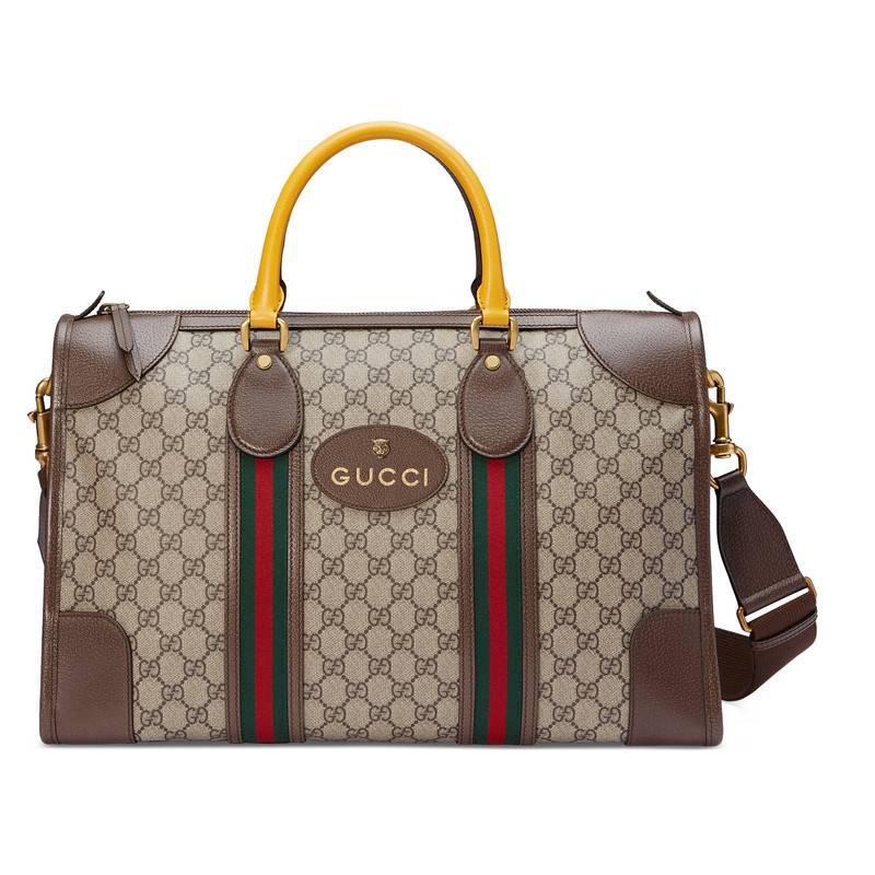 c1eb16189198 Gucci - Brown Soft GG Supreme Duffle Bag With Web - Lyst. View fullscreen