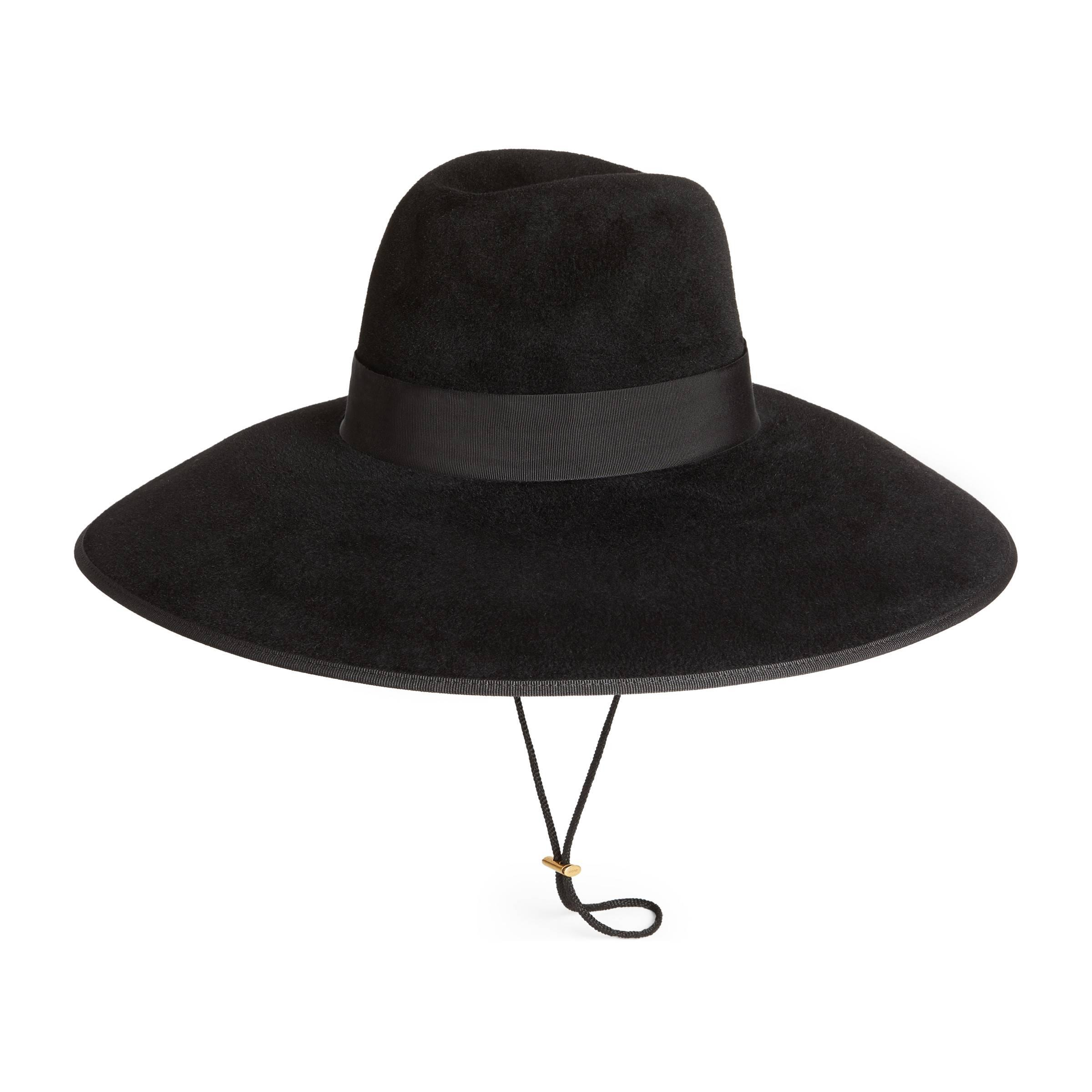 da681493e Gucci - Black Felt Wide Brim Hat for Men - Lyst. View fullscreen