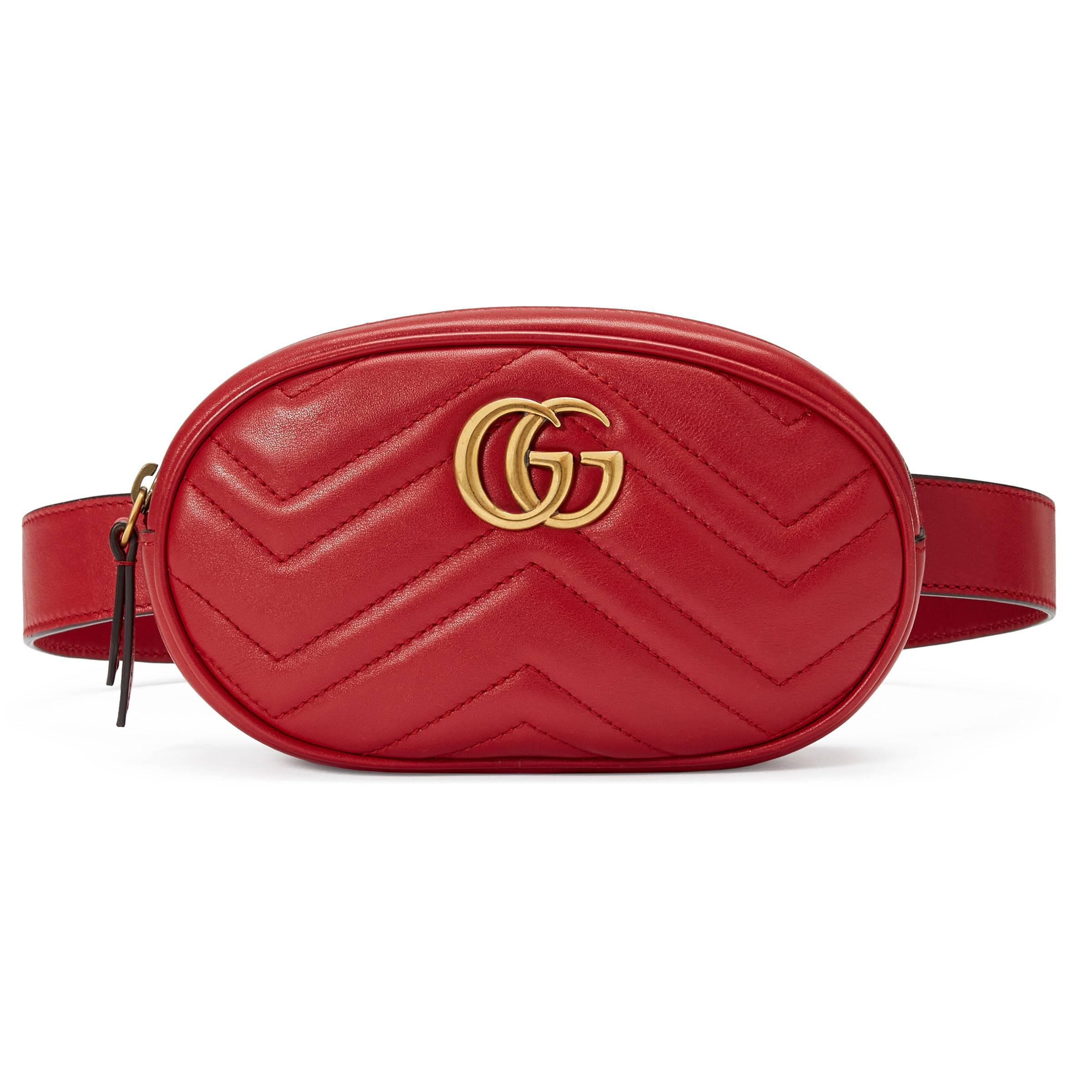 Lyst - Sac ceinture GG Marmont en cuir matelassé Gucci en coloris Rouge ae2302dd07d