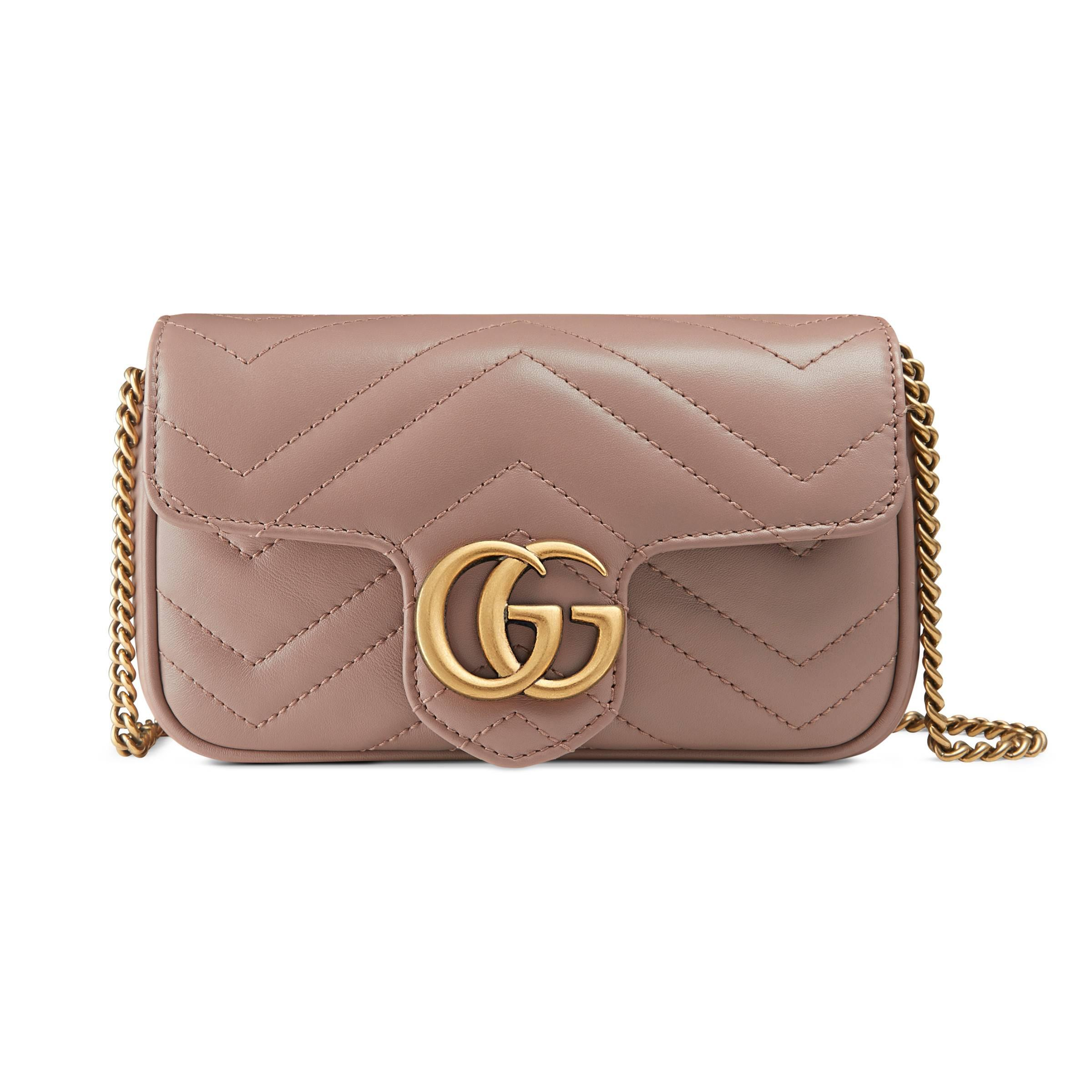 a68e5e627c7 Gucci Gg Marmont Matelassé Leather Super Mini Bag in Pink - Lyst