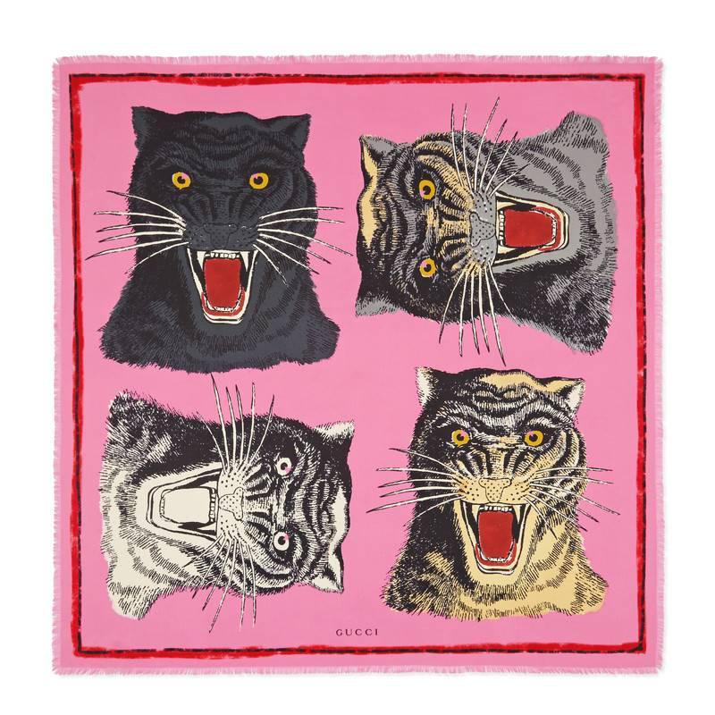 Tiger Face-print silk-twill scarf Gucci RPOmjAhc