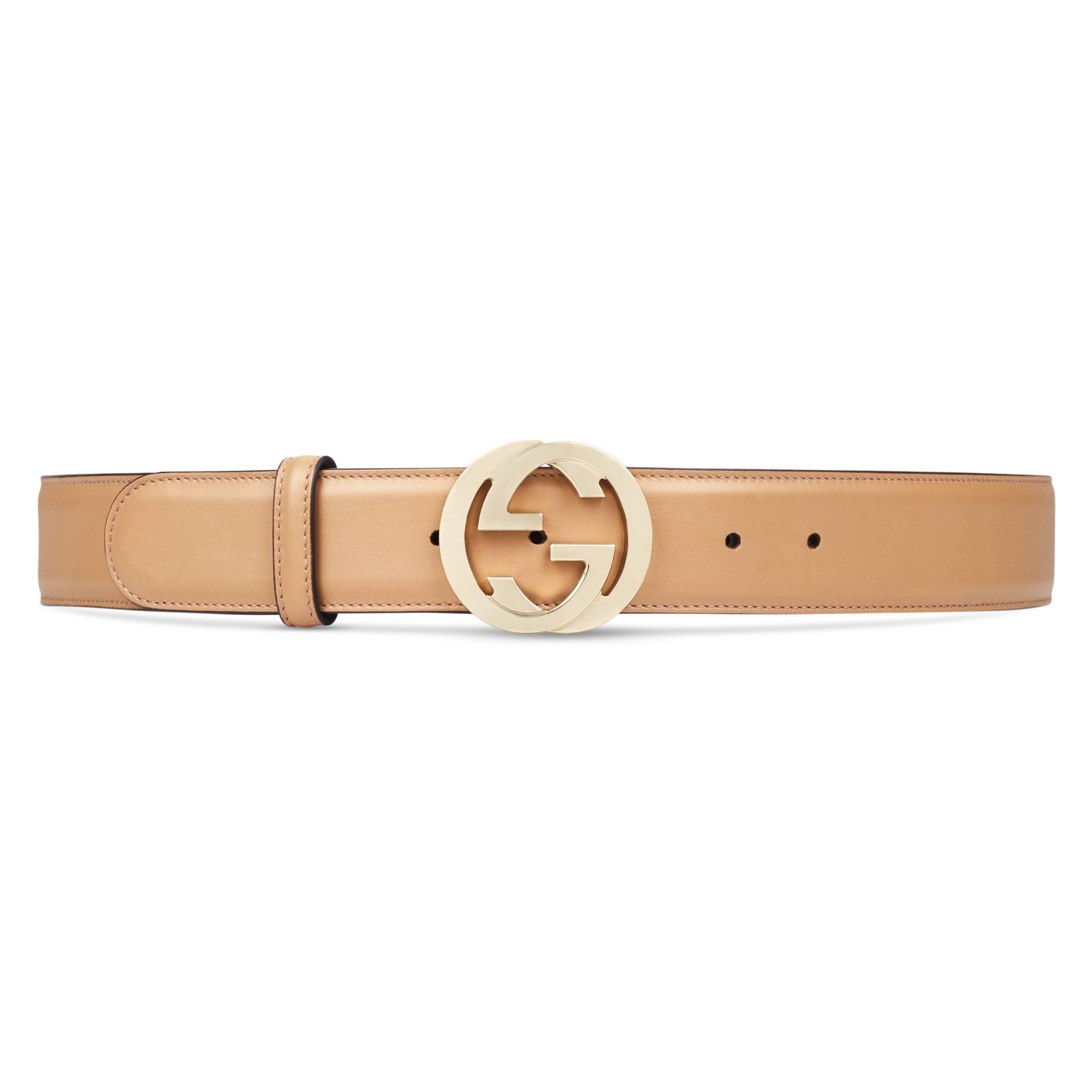 d3f17ff1b4539b Gucci Gürtel mit GG Schnalle aus Leder in Natur - Sparen Sie 8% - Lyst
