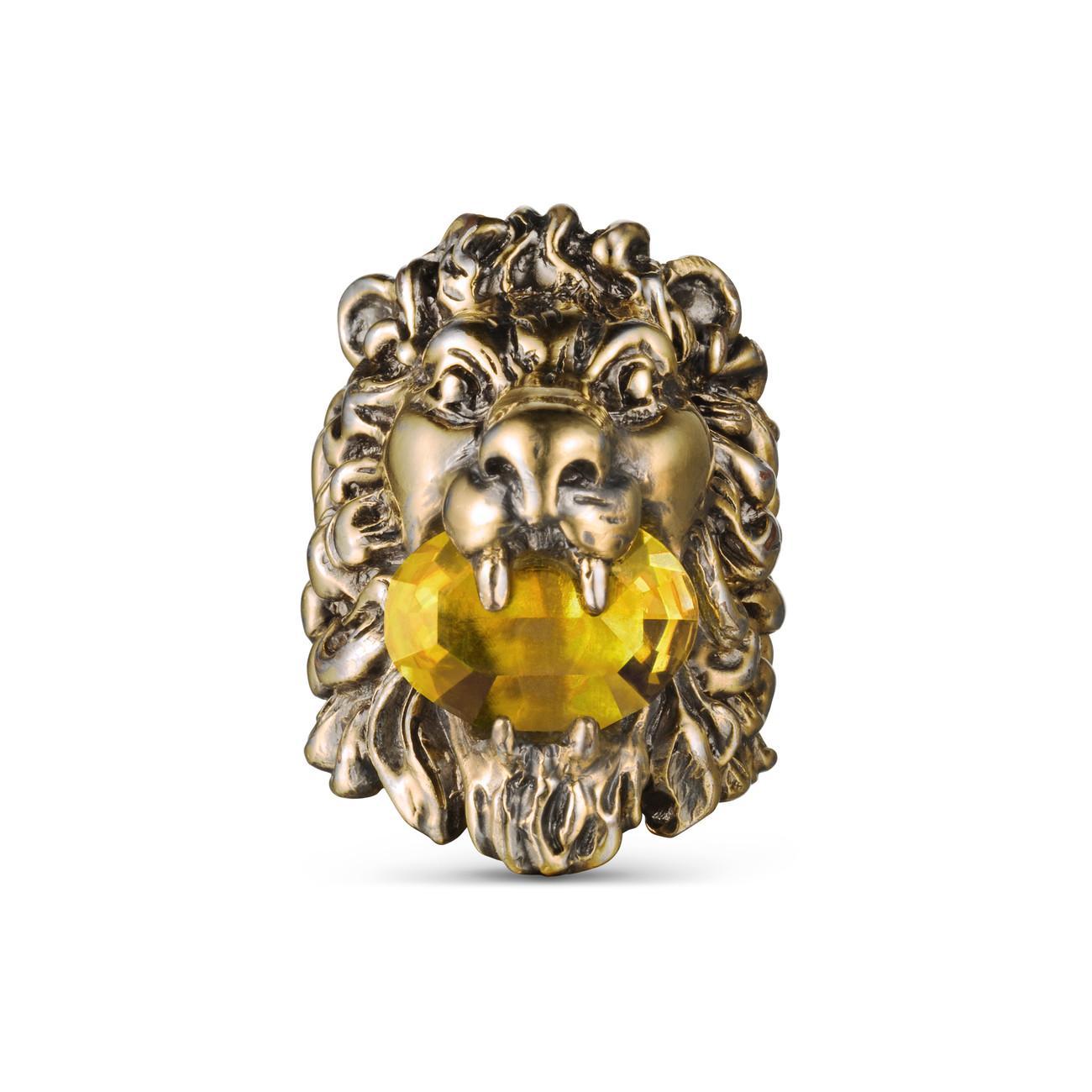 f0d2fe6f7 Gucci Lion Head Ring With Swarovski - Lyst