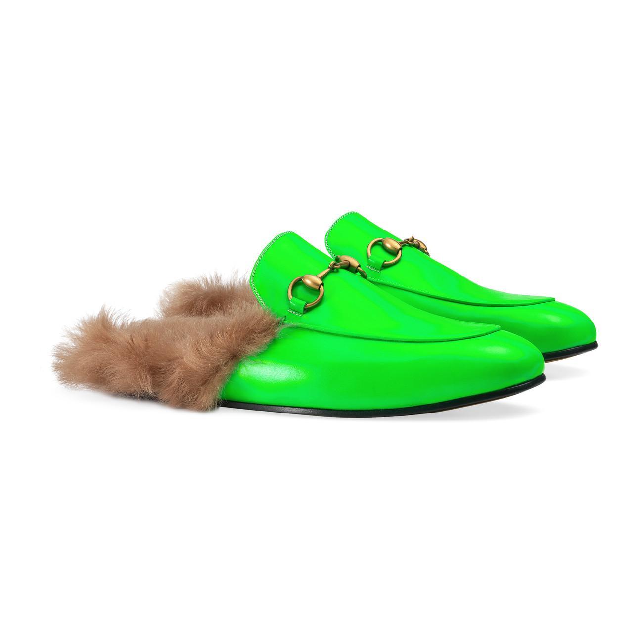 d8a55948fcc Gucci - Green Princetown Fluorescent Leather Slipper for Men - Lyst. View  fullscreen