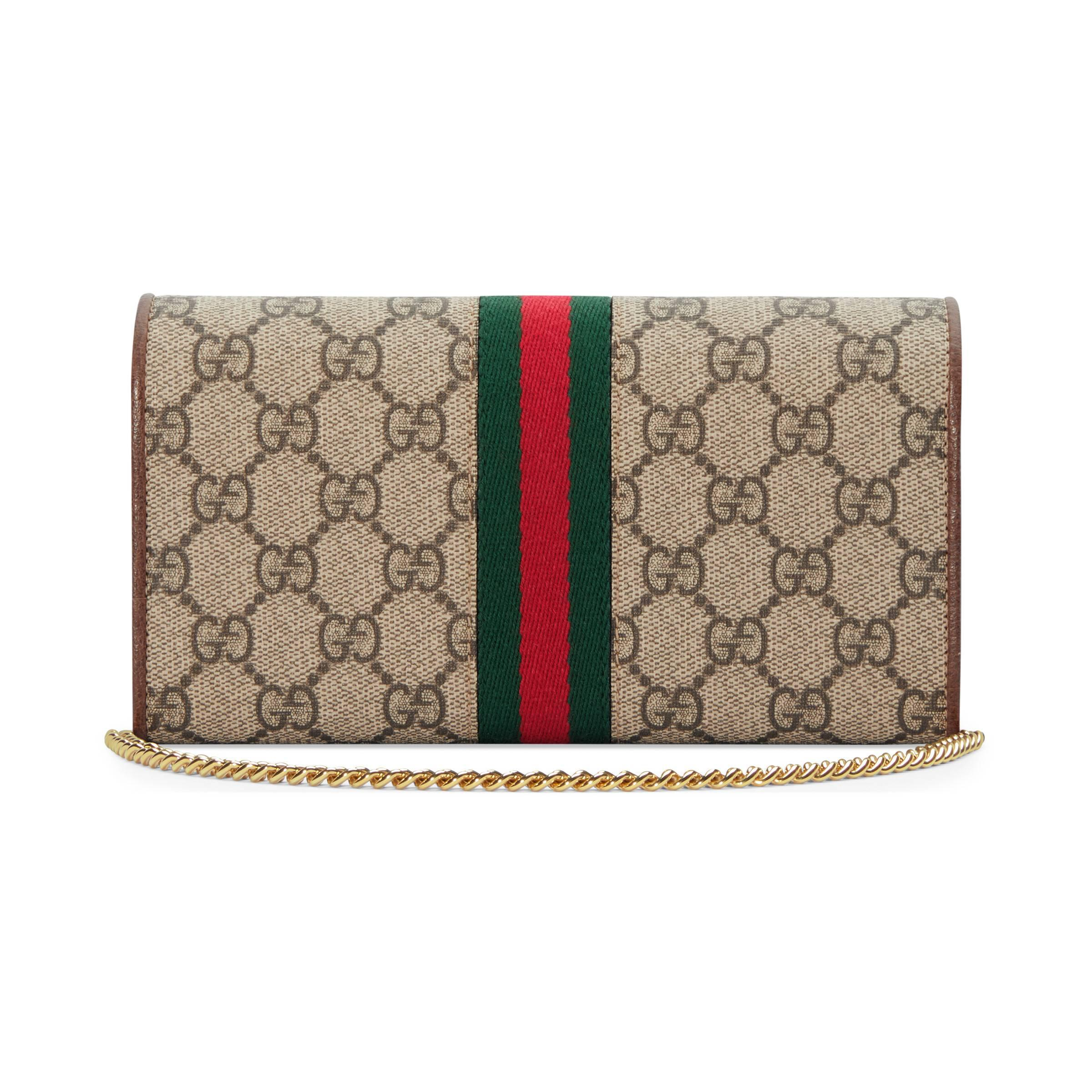 2013feeb6fded Gucci Ophidia GG Brieftasche mit Kette in Natur - Lyst