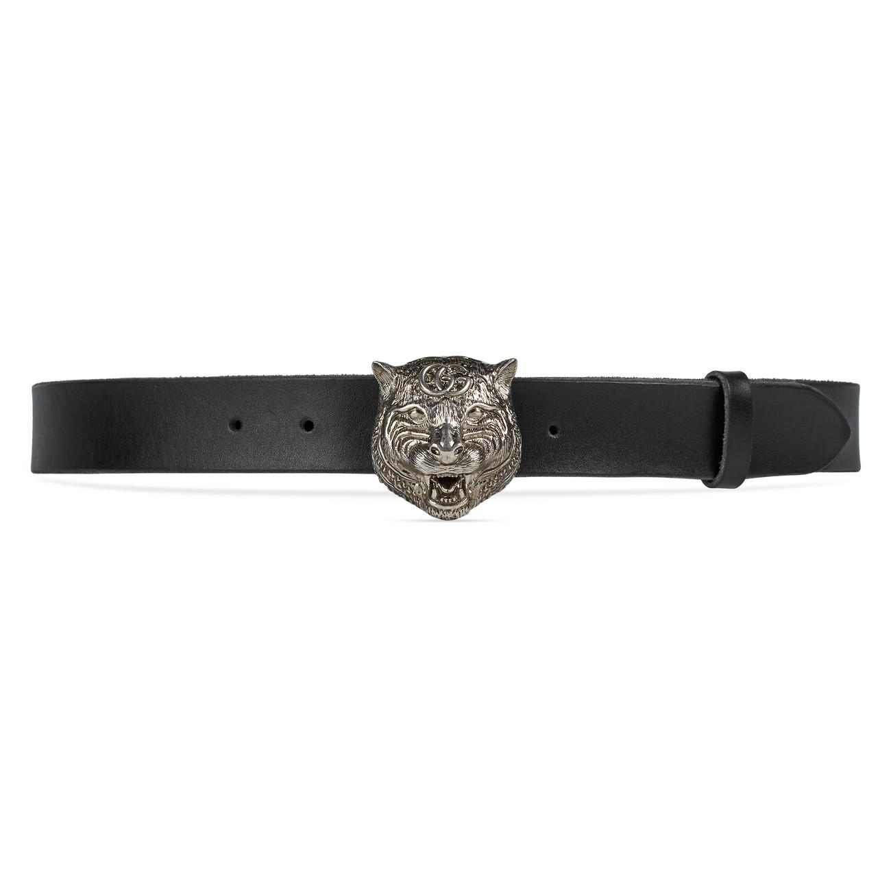 d353e9ef94d Lyst - Gucci Leather Belt With Feline Head in Black for Men - Save 13%