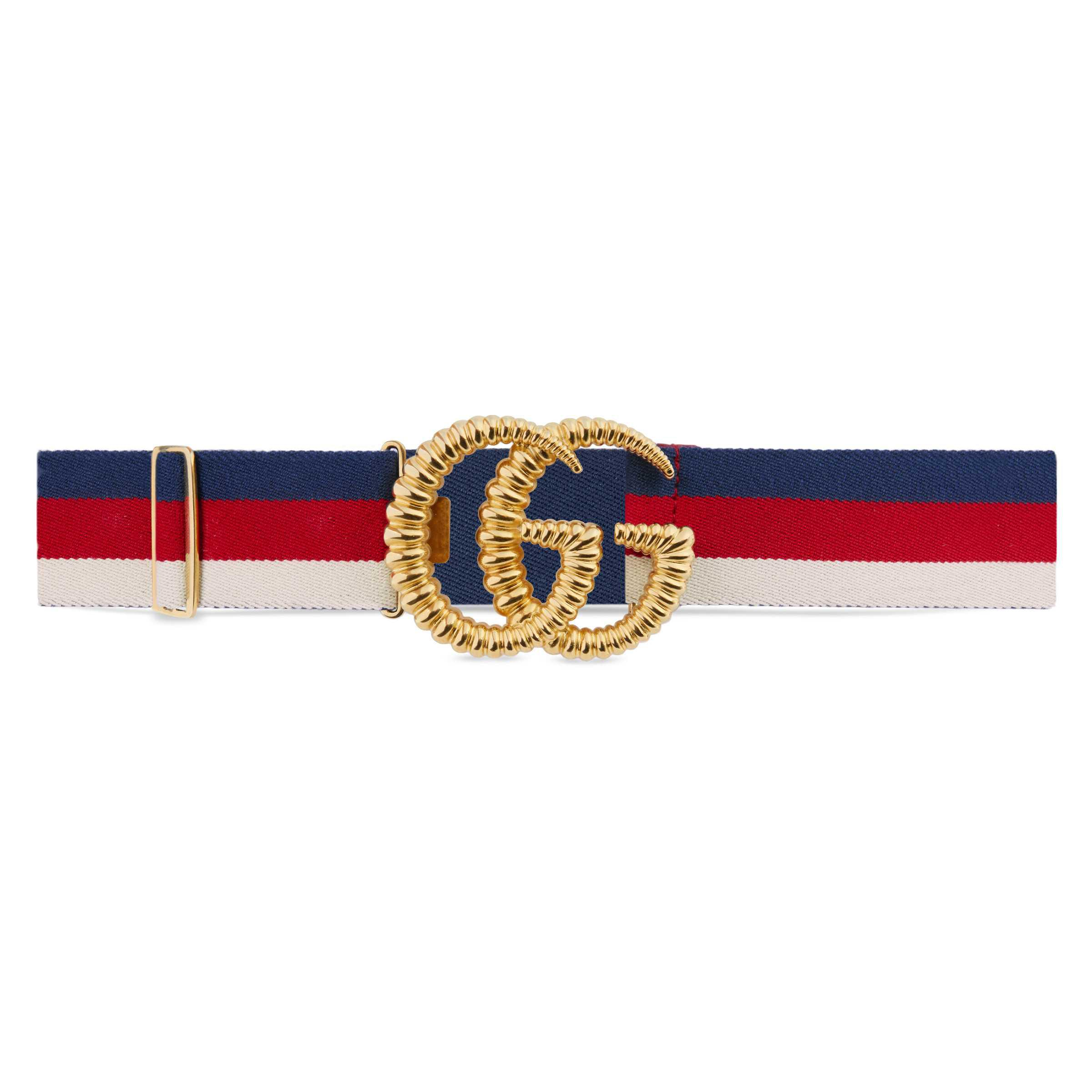 38ad7929ad7 Gucci Web Elastic Belt With Torchon Double G Buckle - Lyst