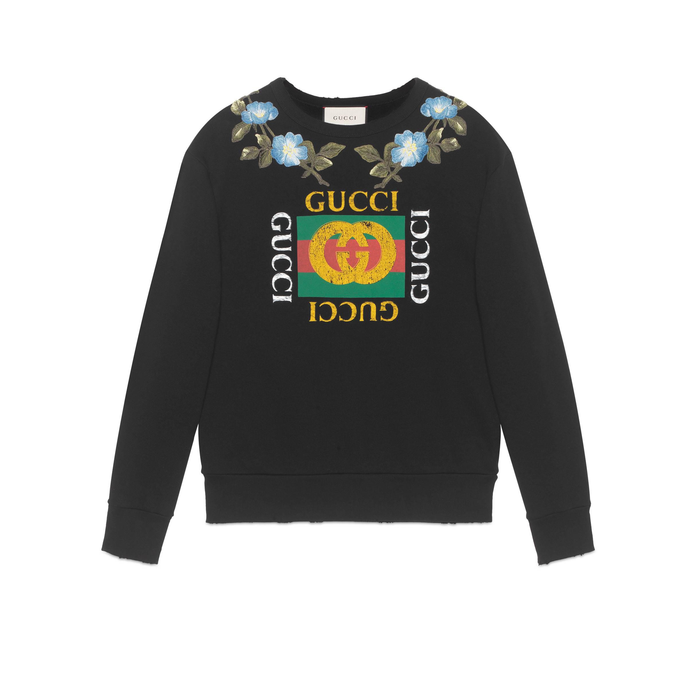 d64708a8bf3 Gucci - Black Cotton Sweatshirt With Logo And Flowers for Men - Lyst. View  fullscreen