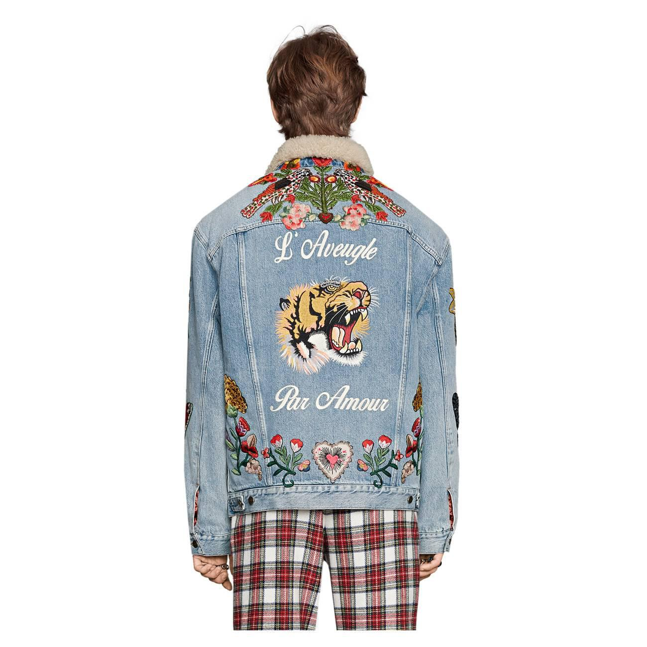 1ea50a28167 Gucci - Blue Embroidered Denim Jacket With Shearling for Men - Lyst. View  fullscreen