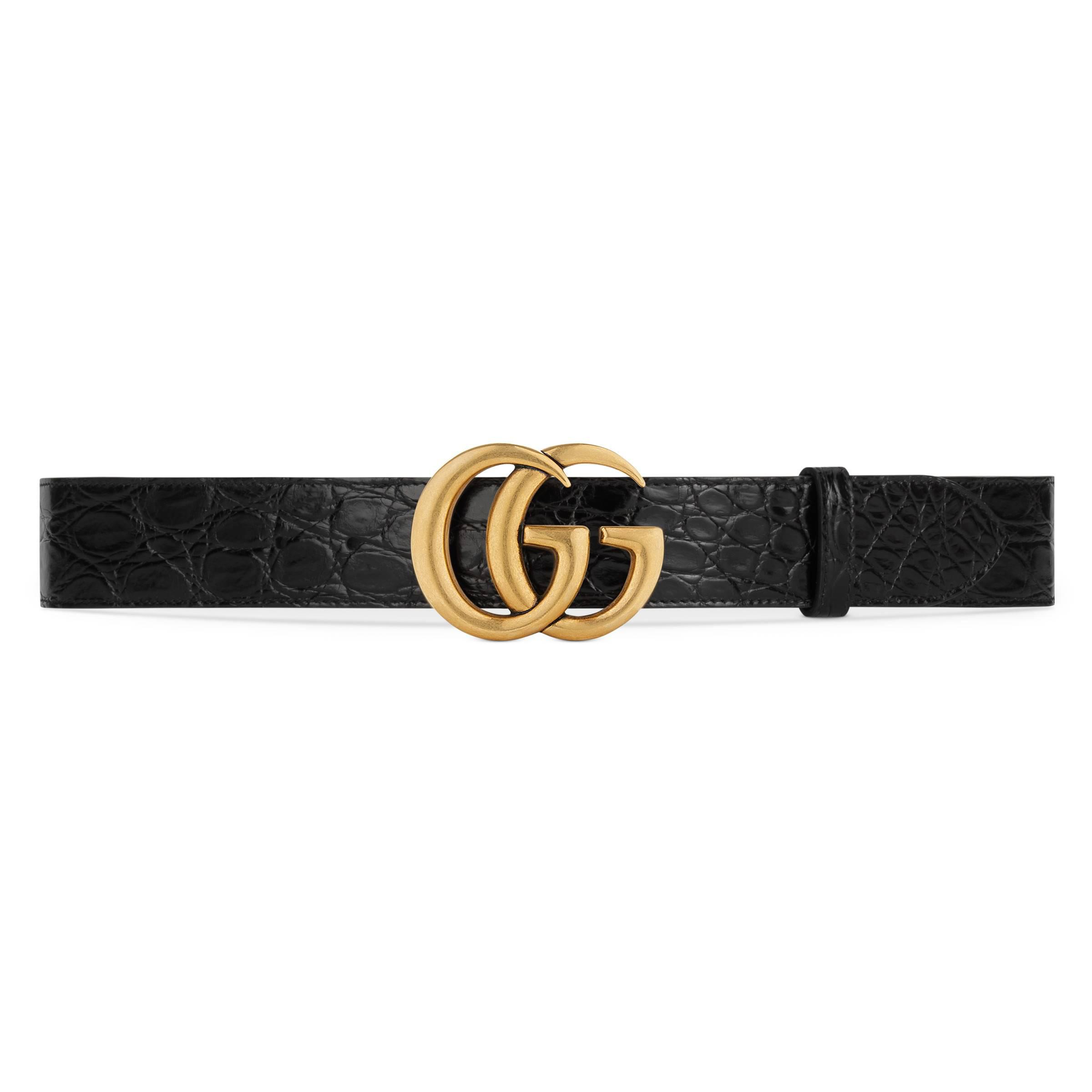 0a115668381 Gucci - Black Crocodile Belt With Double G Buckle for Men - Lyst. View  fullscreen