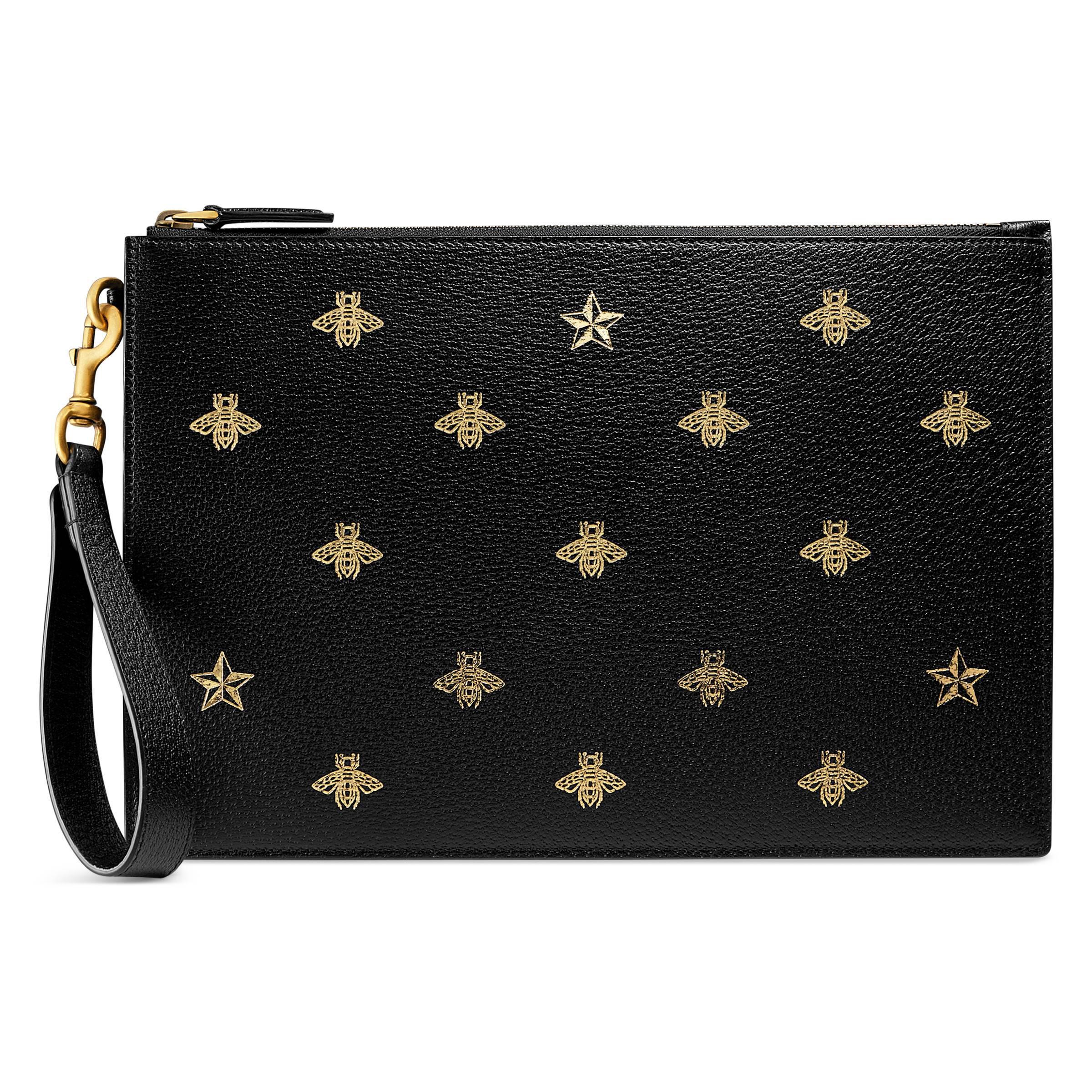 Lyst - Pochette en cuir Bee Star Gucci pour homme en coloris Noir 87b8fd703fd