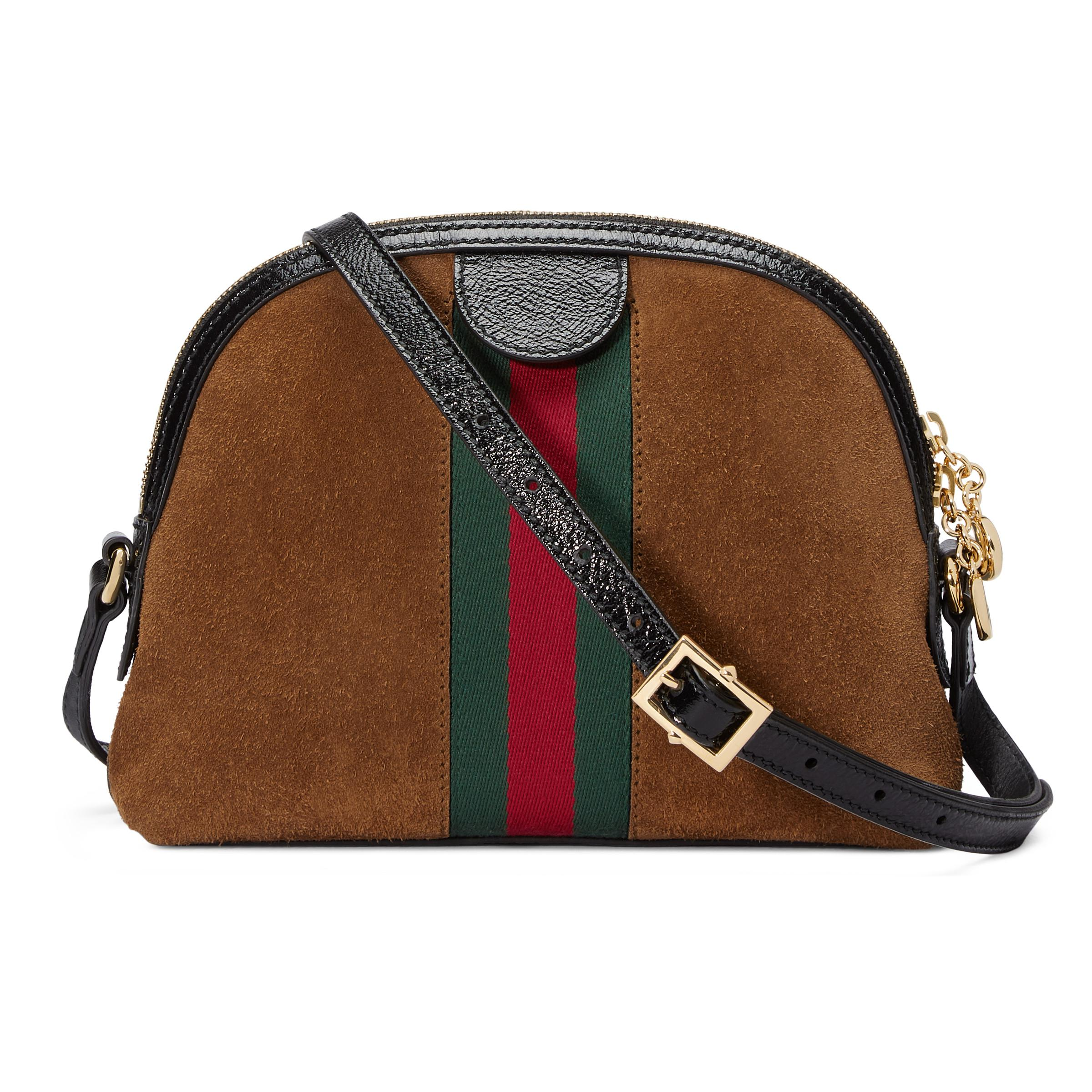 a10113c8012 Gucci - Brown Linea Dragoni Suede Small Chain Shoulder Bag - Lyst. View  fullscreen
