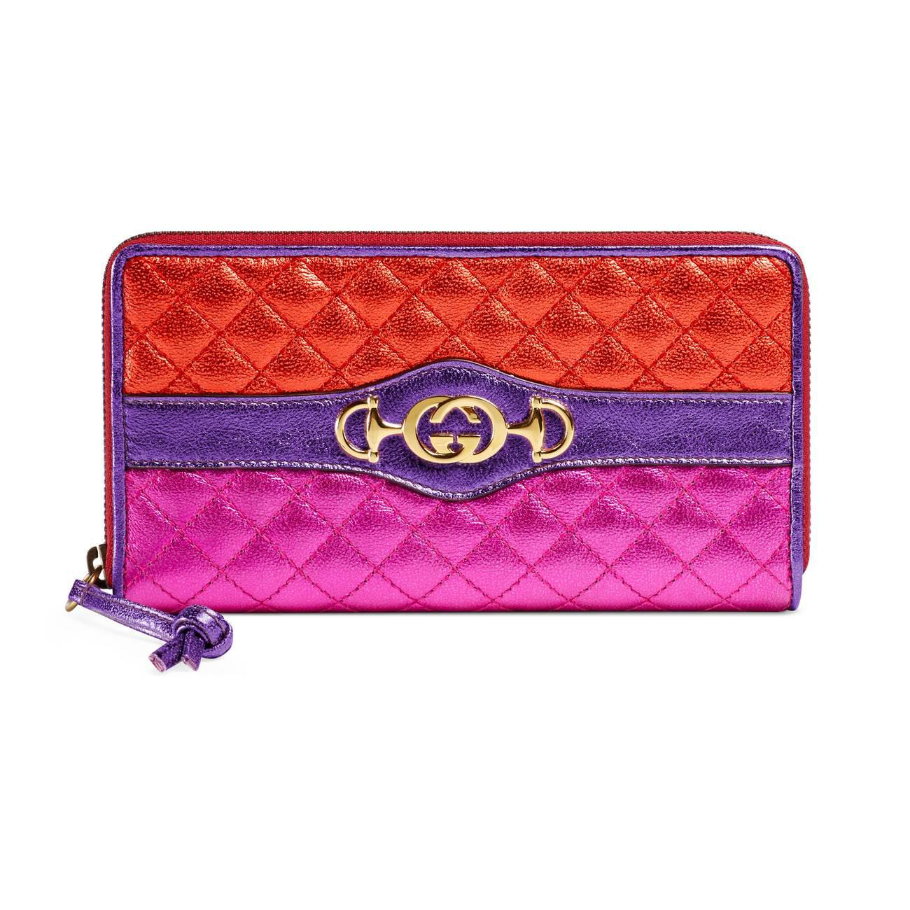 f0d7561c6b5adf Gucci Laminated Leather Zip Around Wallet in Purple - Lyst