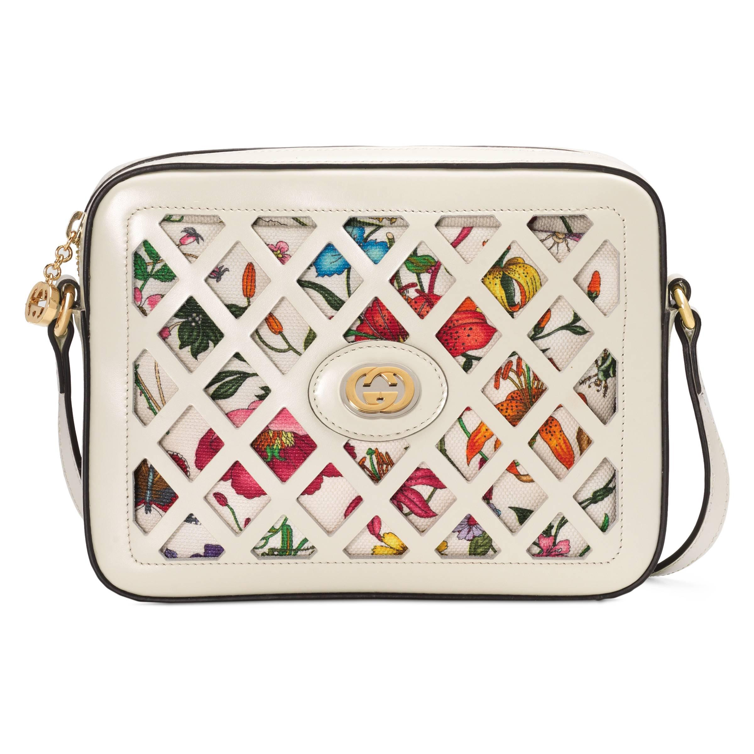 0178a30b8468 Gucci Small Cutout Leather Shoulder Bag in White - Lyst