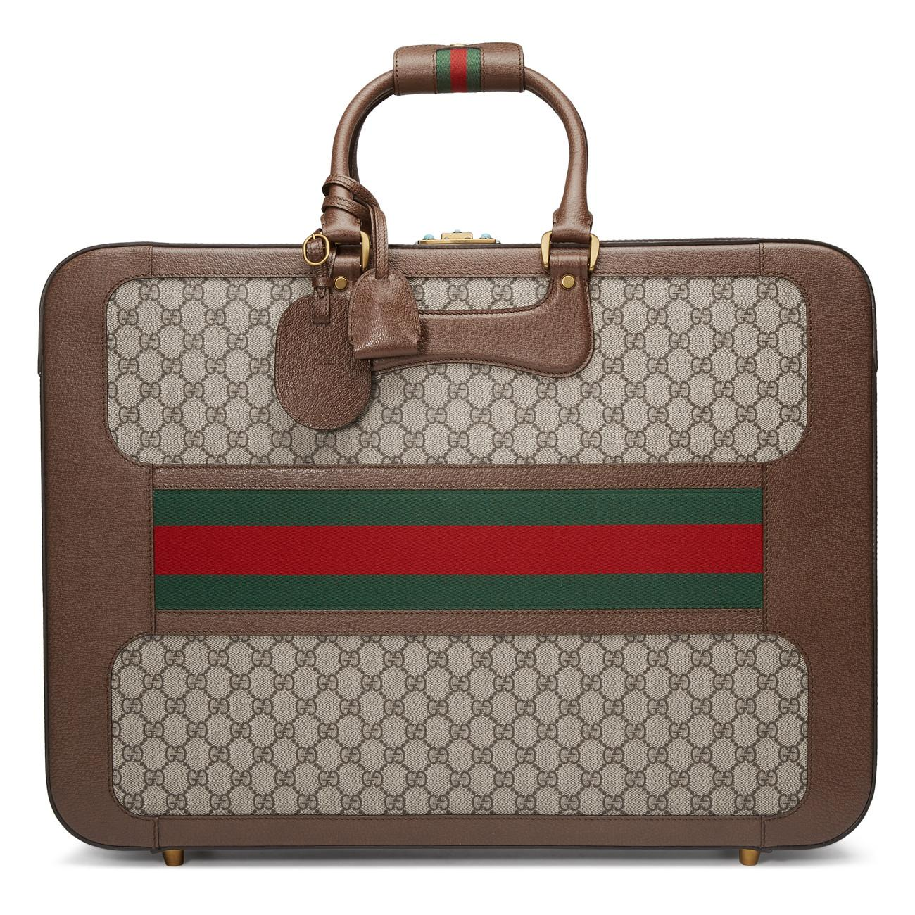 af54b93ef7ba Lyst - Gucci GG Supreme Suitcase With Web for Men