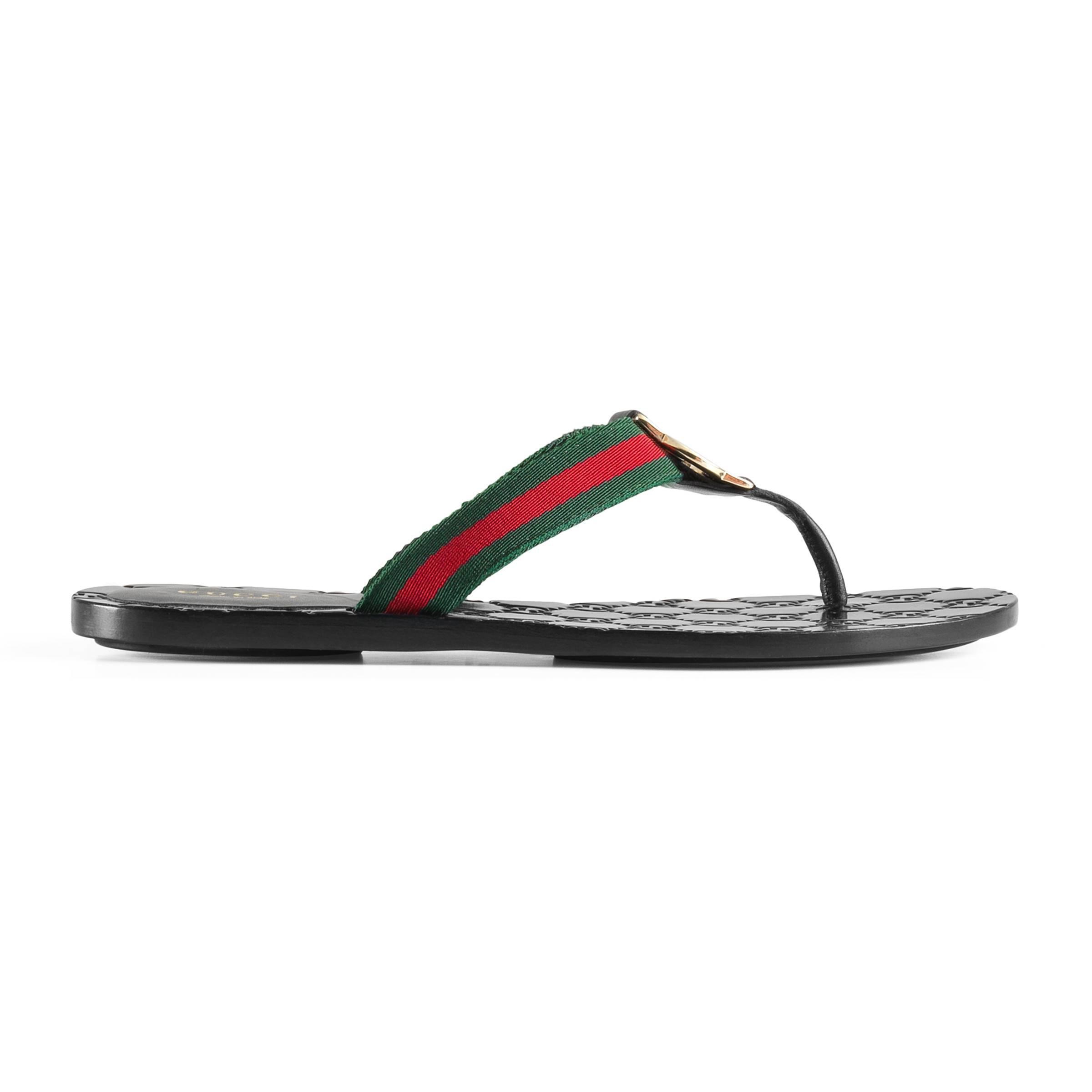 f377a1e3e9d8 Gucci Gg Thong Web Sandal in Brown - Lyst