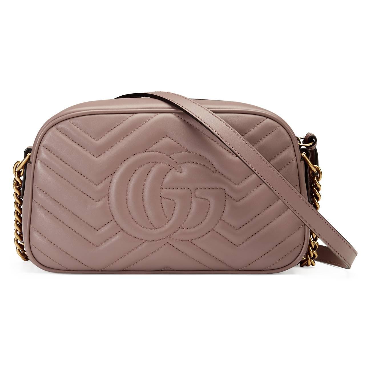 c7e96b46b6a Gucci - Pink GG Marmont Small Matelassé Shoulder Bag - Lyst. View fullscreen