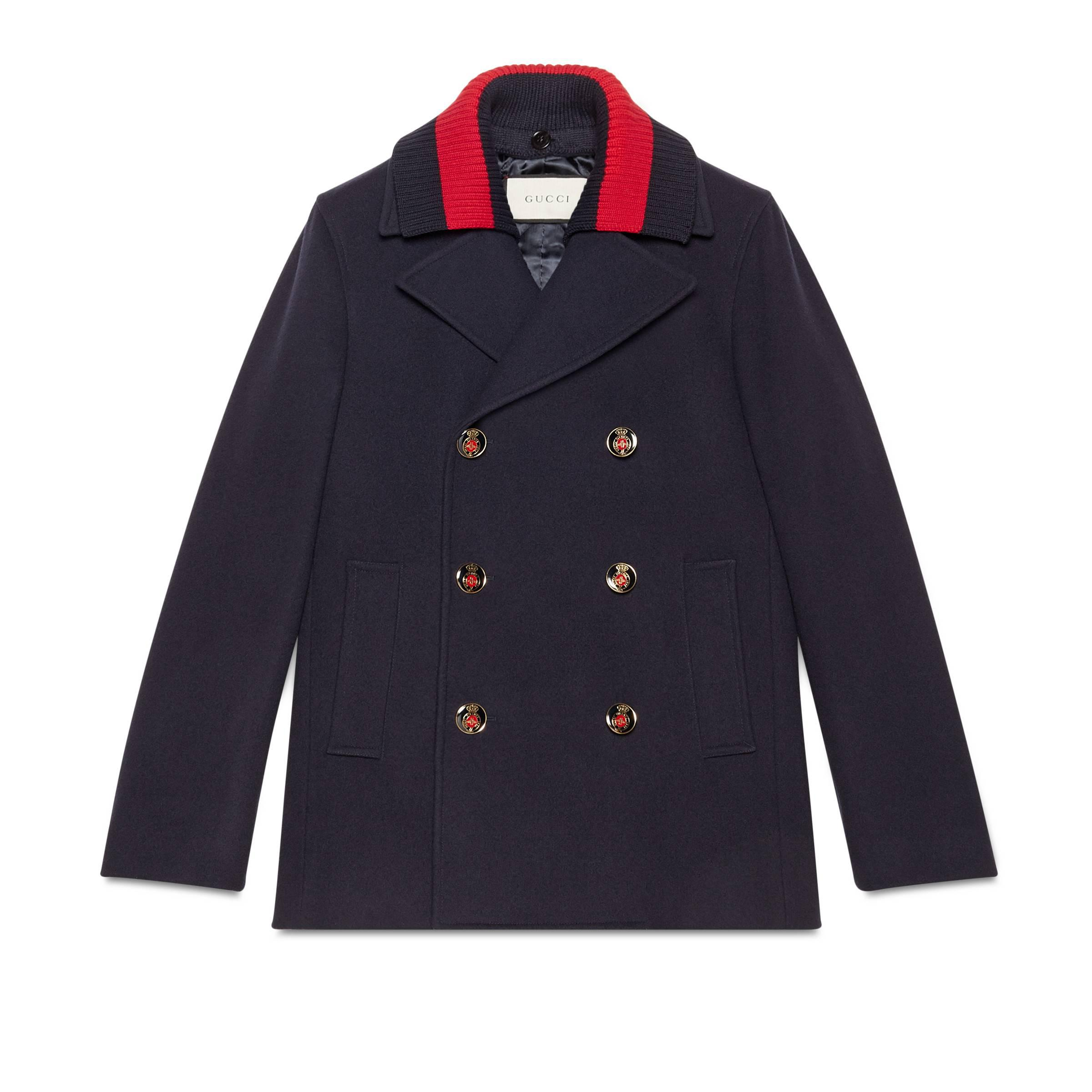 4094ea25ccf2 Gucci Wool Pea Coat With Web in Black for Men - Lyst