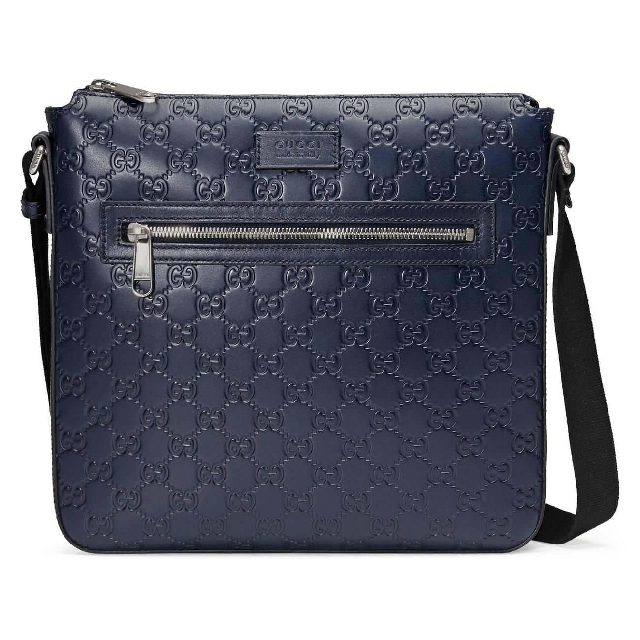 06ee6cd8118 Gucci Signature Leather Messenger Blue in Blue for Men - Save ...