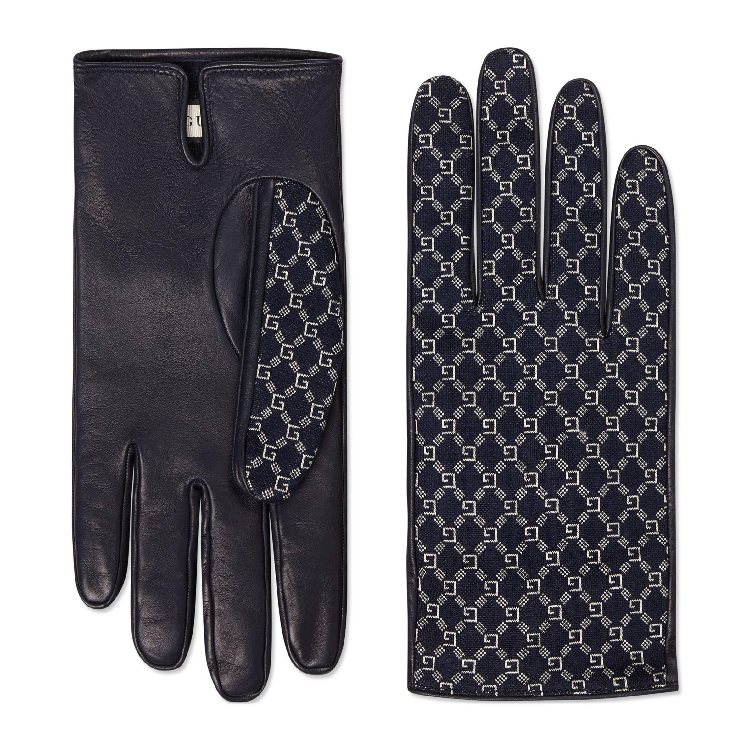 4d4d5a7755322 Lyst - Gucci Handschuhe aus Leder mit Square G in Blau für Herren