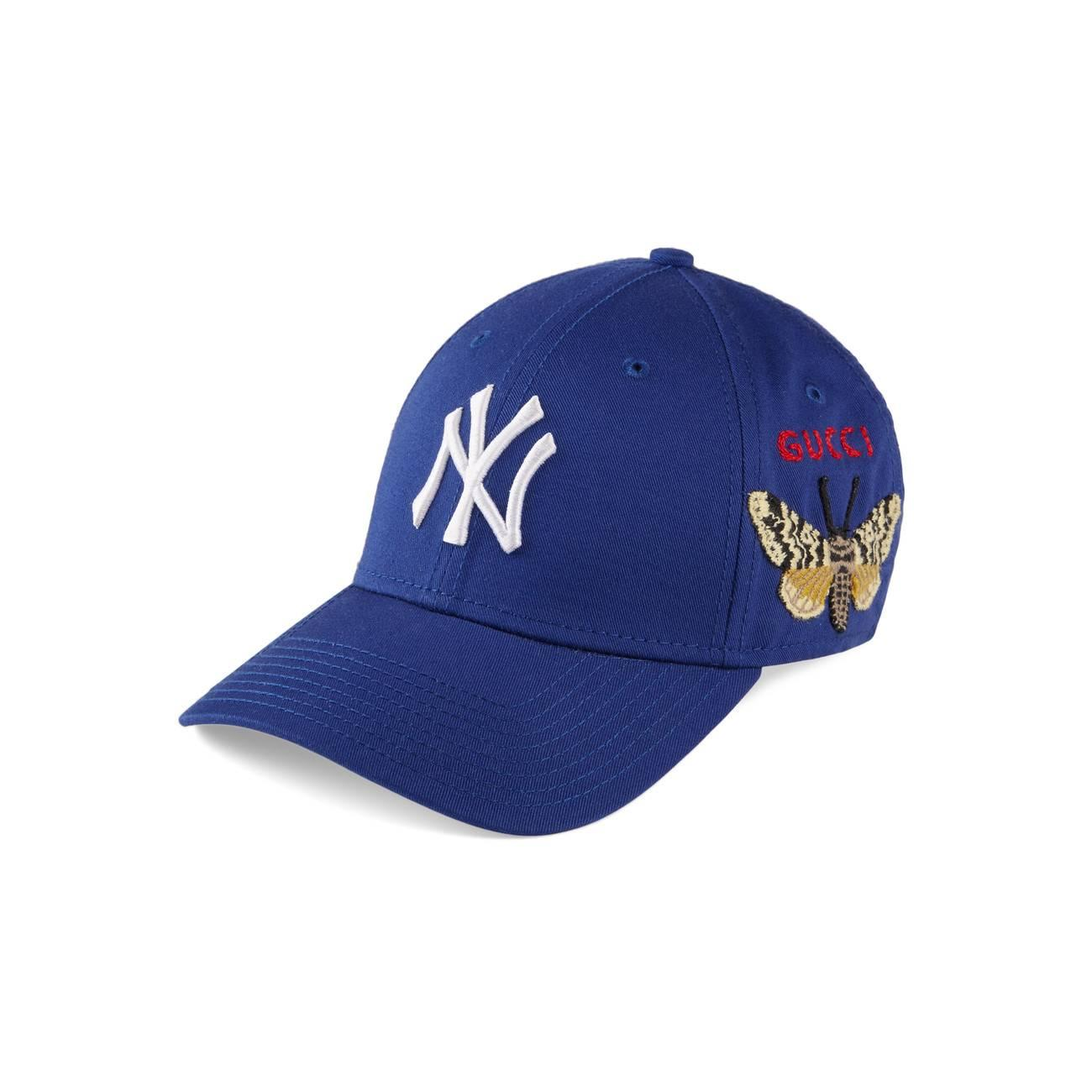 86e3a1f81784 Lyst - Gucci Baseball Cap With Ny Yankeestm Patch Blue in Blue for Men