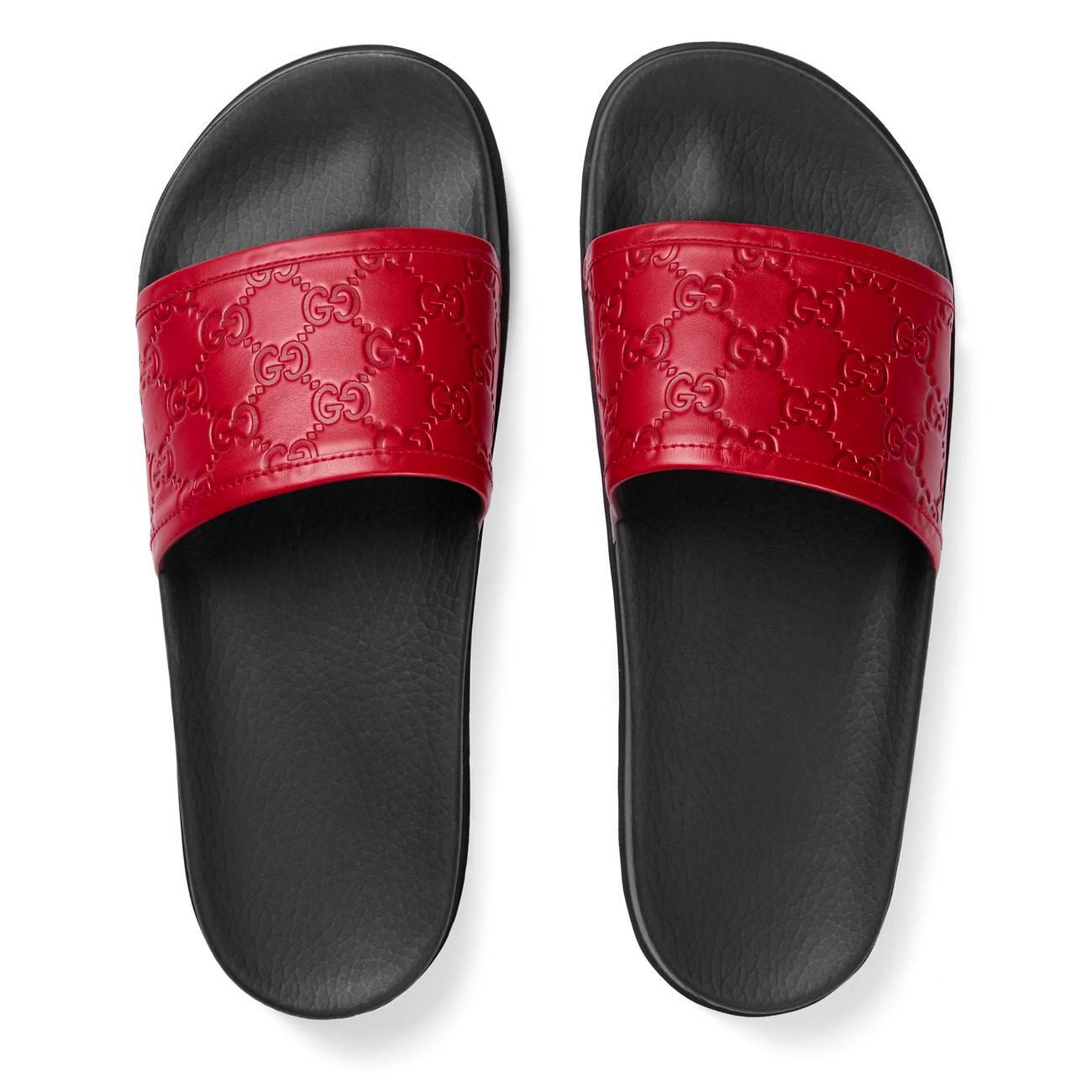 1794eaa111fe Lyst - Gucci Signature Slide Sandal in Red for Men - Save ...