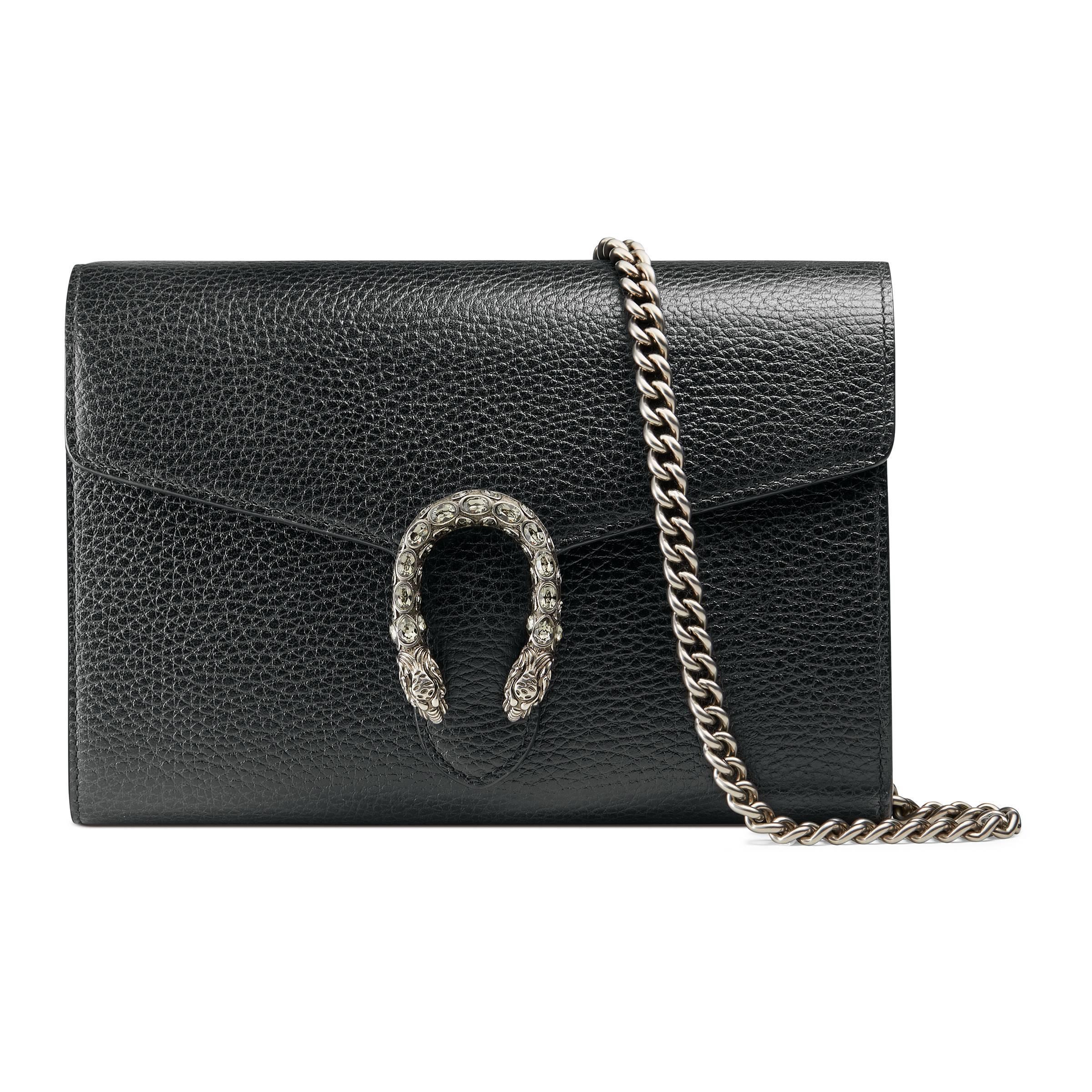 Lyst - Mini sac Dionysus en cuir avec chaîne Gucci en coloris Noir da6811343ec