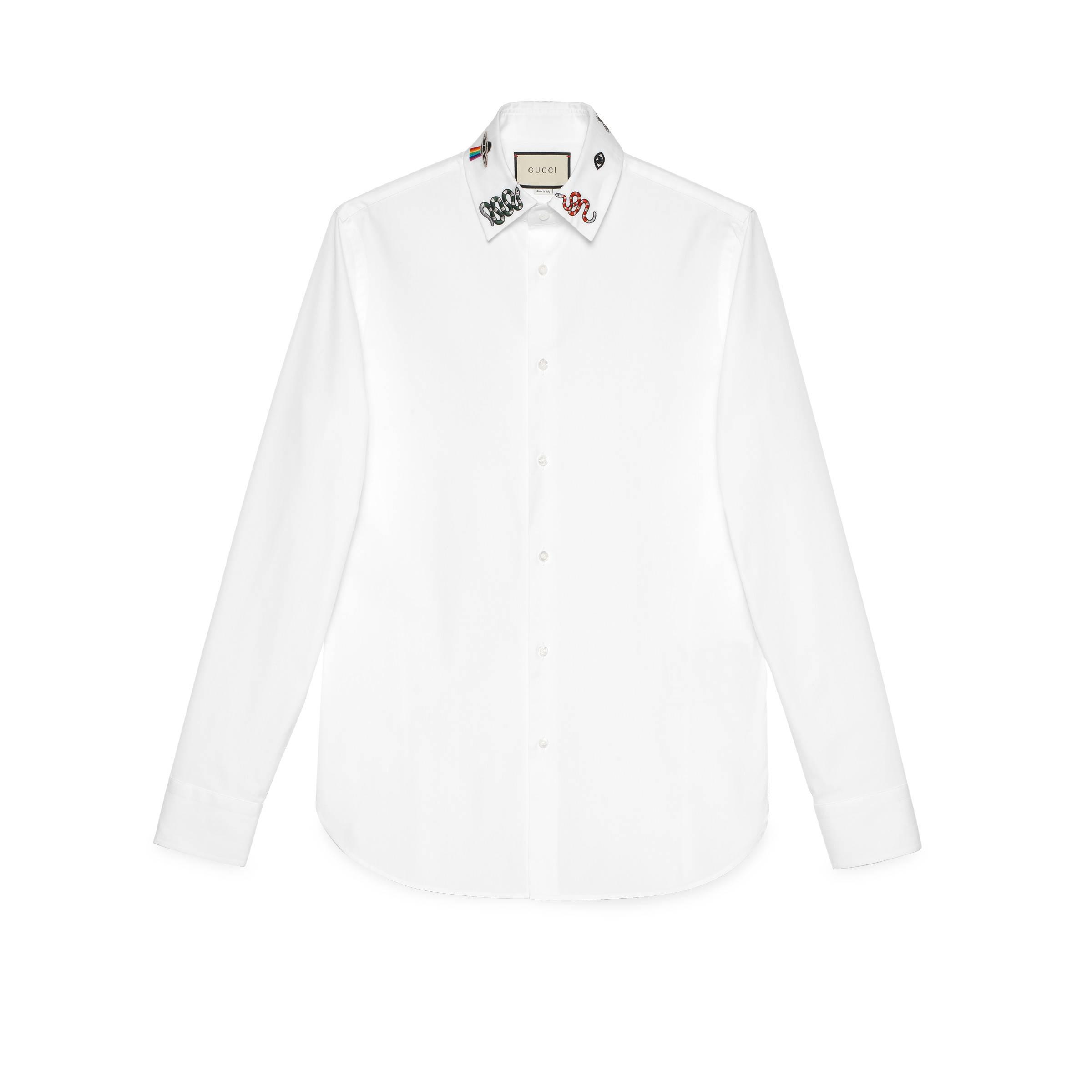5c6c292d0a036 Gucci Hemd aus Baumwolle mit Symbolen in Weiß für Herren - Lyst