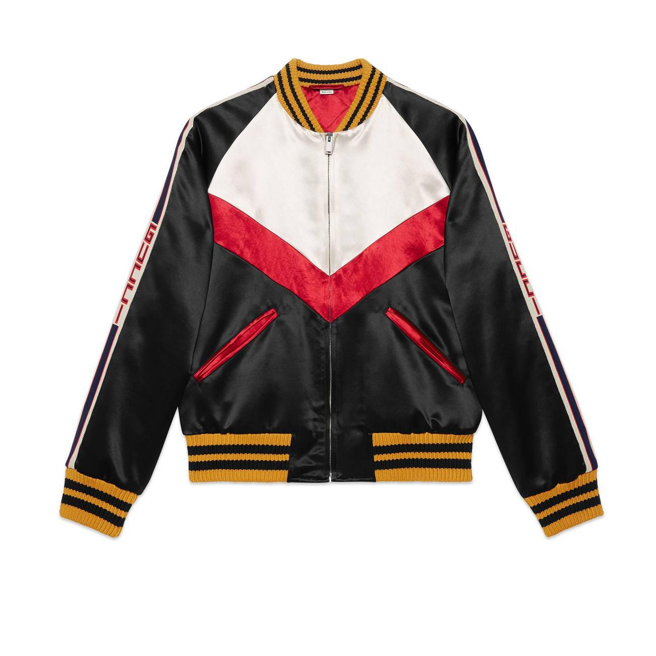 8ac4caf13 Gucci Chevron Acetate Bomber Jacket in White for Men - Lyst