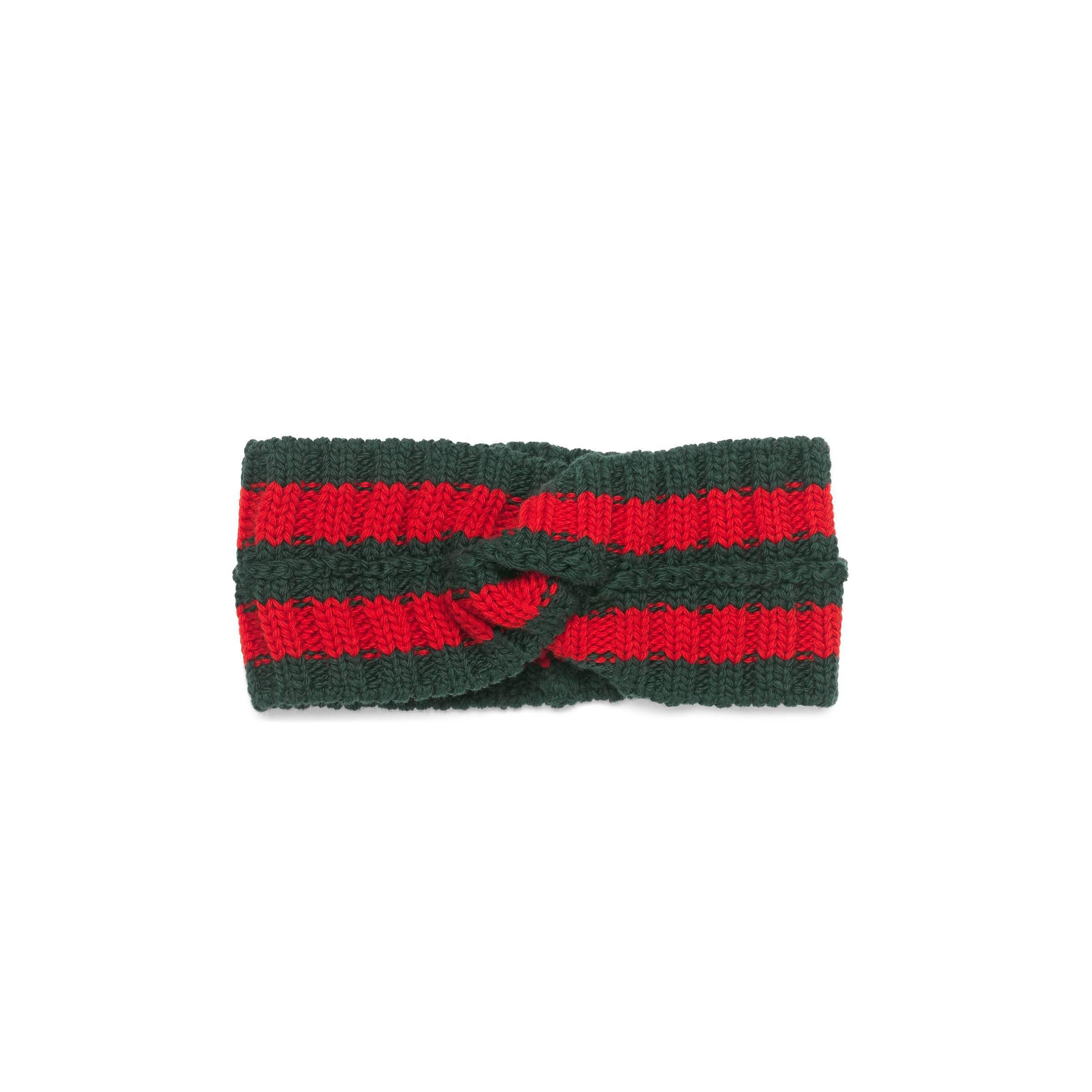 faa7a2245a2 Gucci Wool Web Headband in Green - Save 6% - Lyst