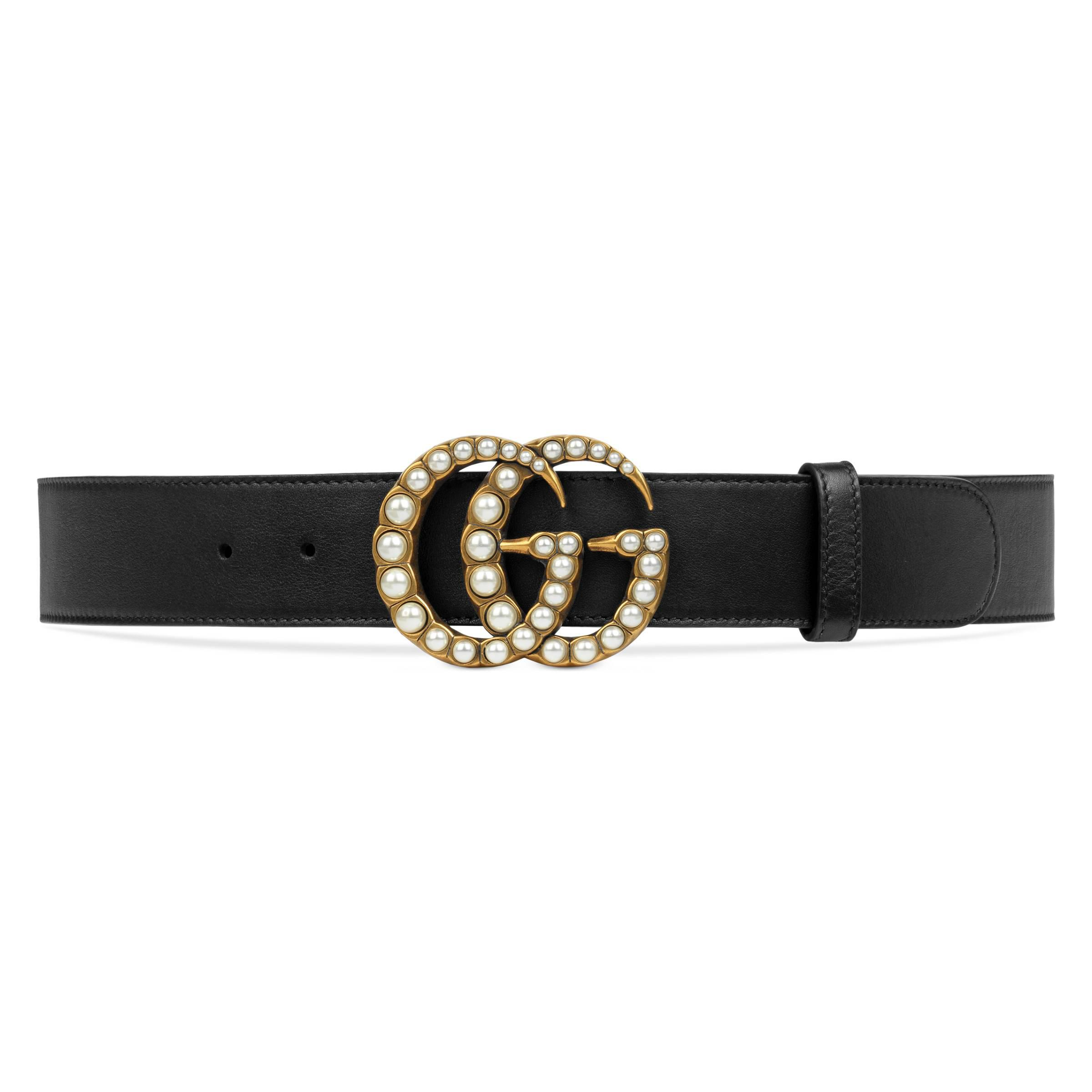 2c20d32a672 Gucci Leather Belt With Pearl Double G in Black - Save 10% - Lyst