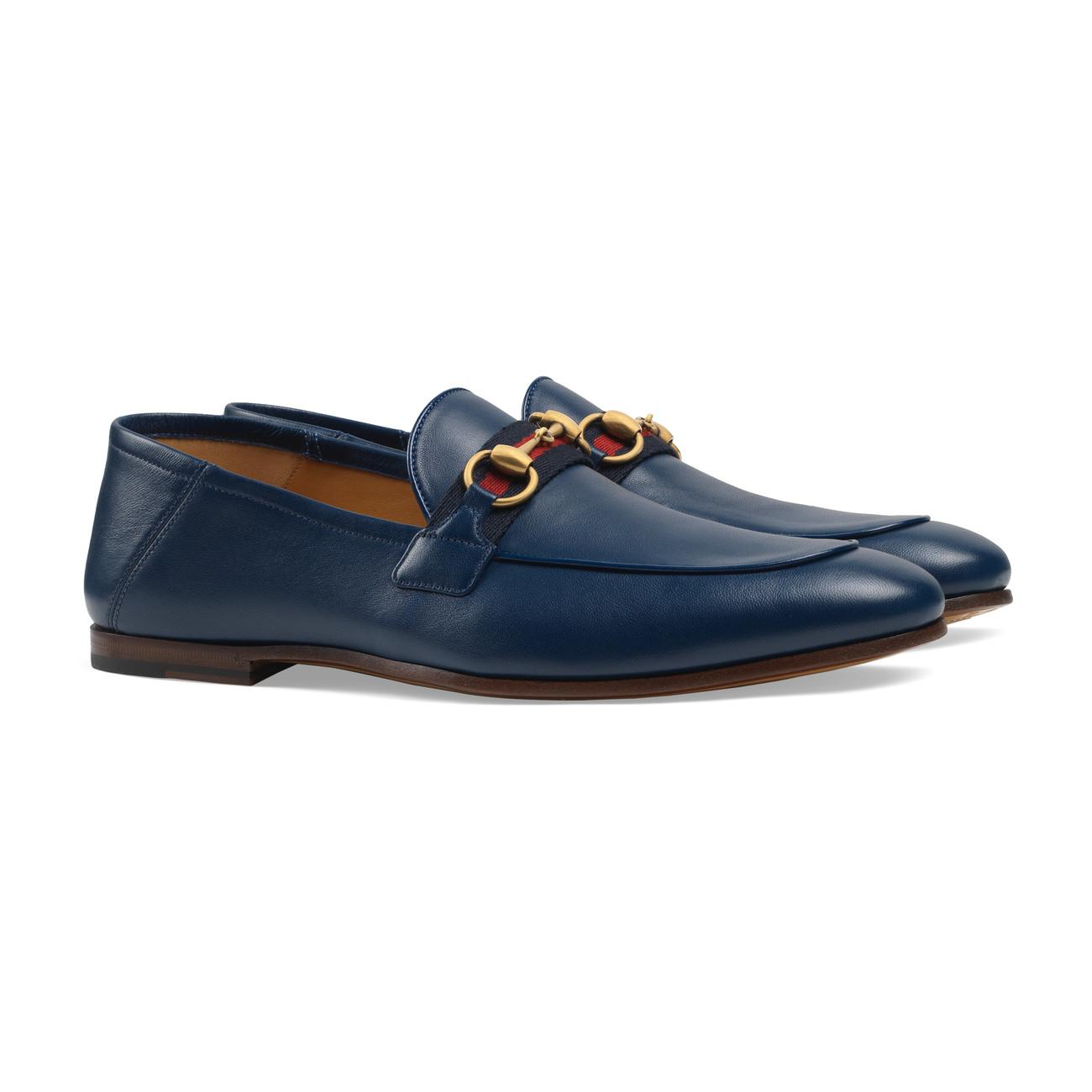 a032048c6 Gucci - Blue Men's Leather Horsebit Loafer With Web for Men - Lyst. View  fullscreen
