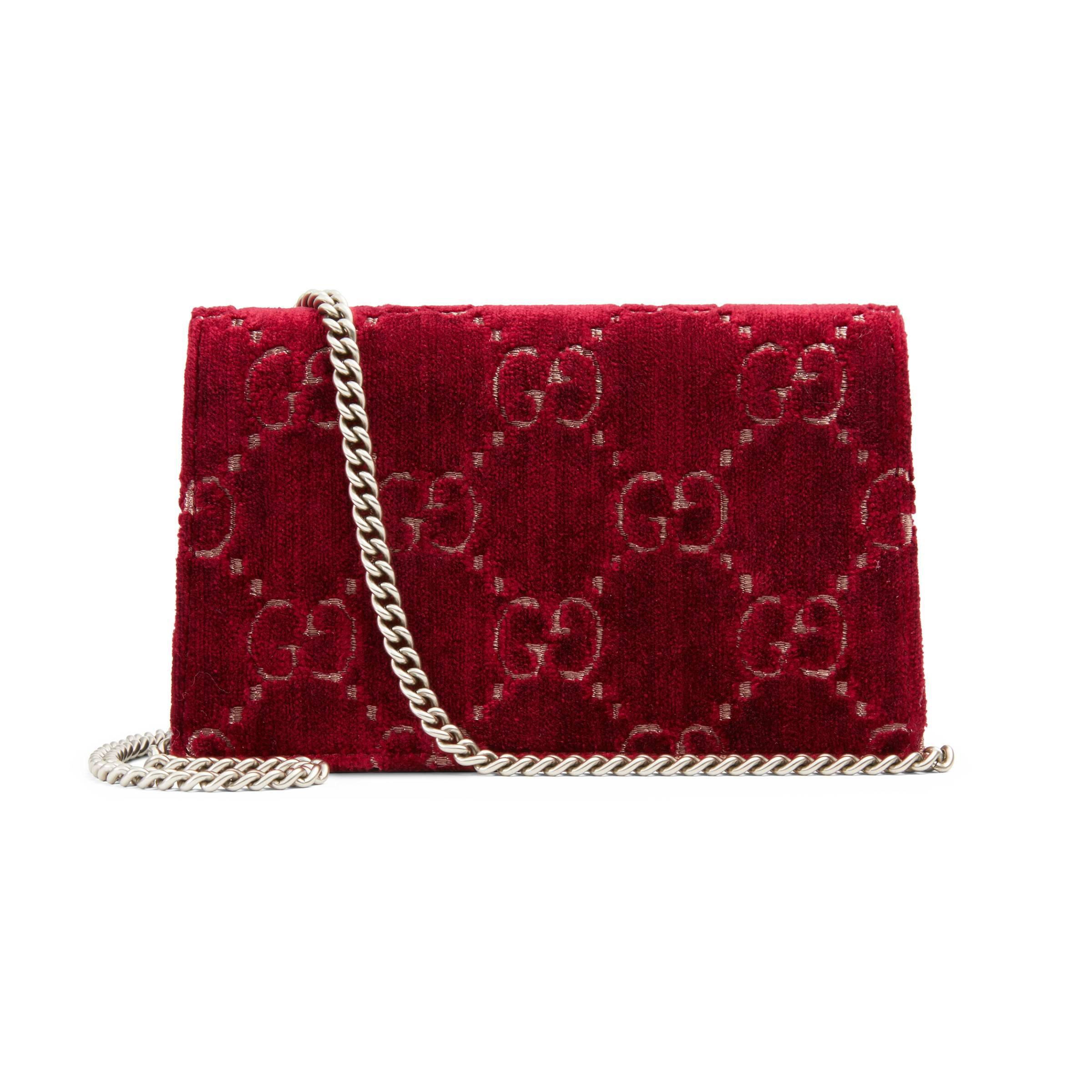 4d005b141b4 Gucci - Red Dionysus Gg Velvet Super Mini Bag - Lyst. View fullscreen