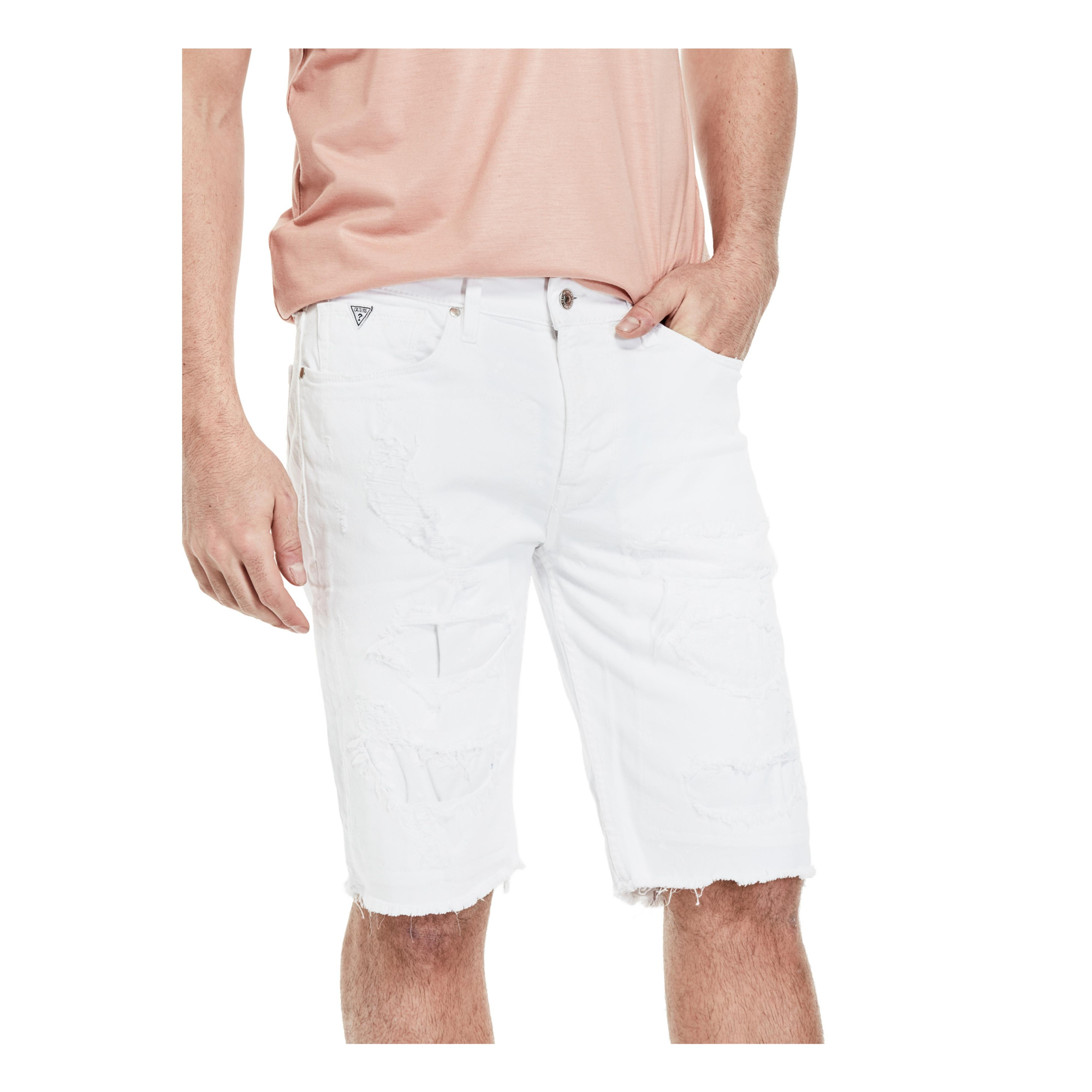 09f41c5825 Lyst - Guess Slim Raw-edge Denim Shorts in White for Men