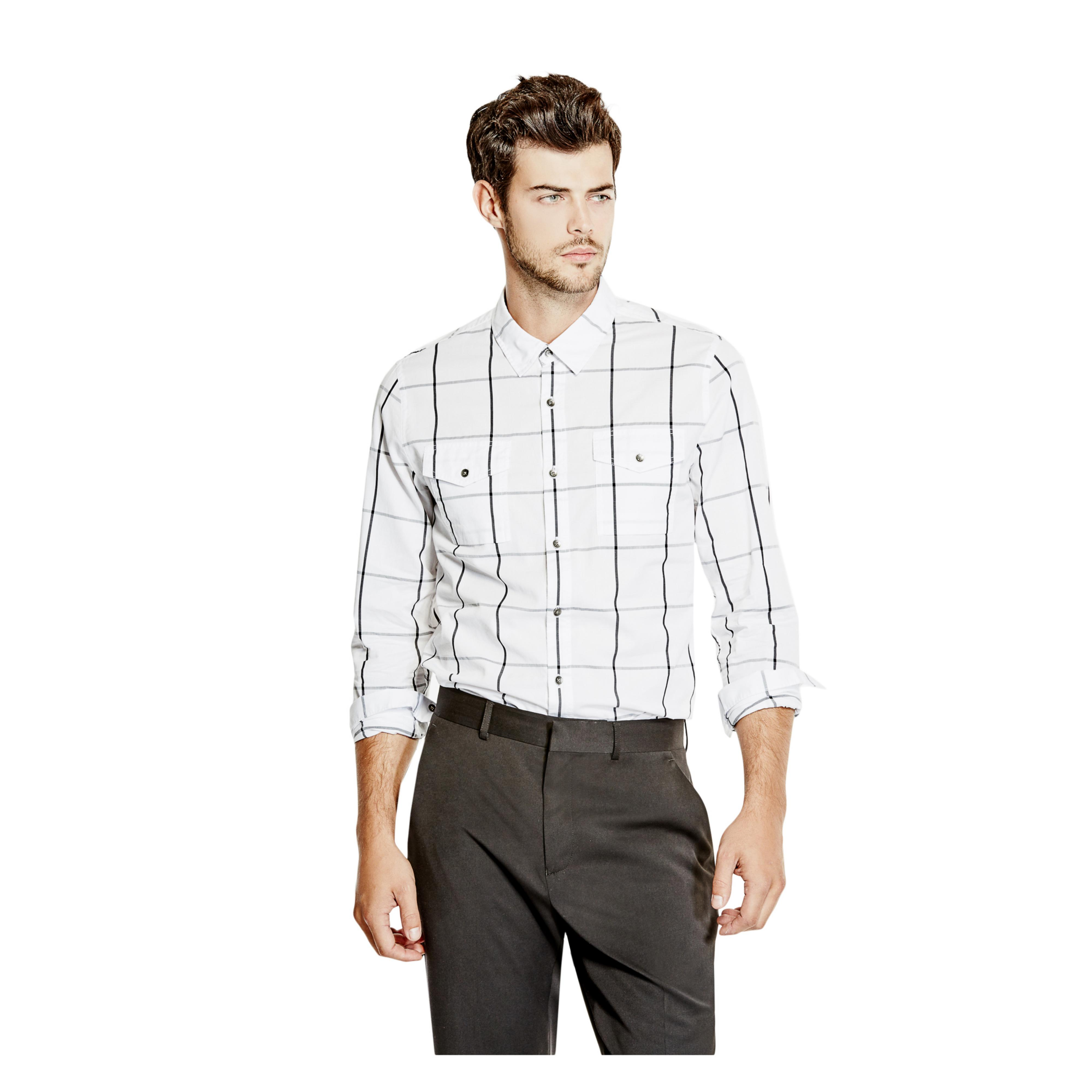 Guess Clover Checkered Slim Fit Shirt In White For Men Lyst