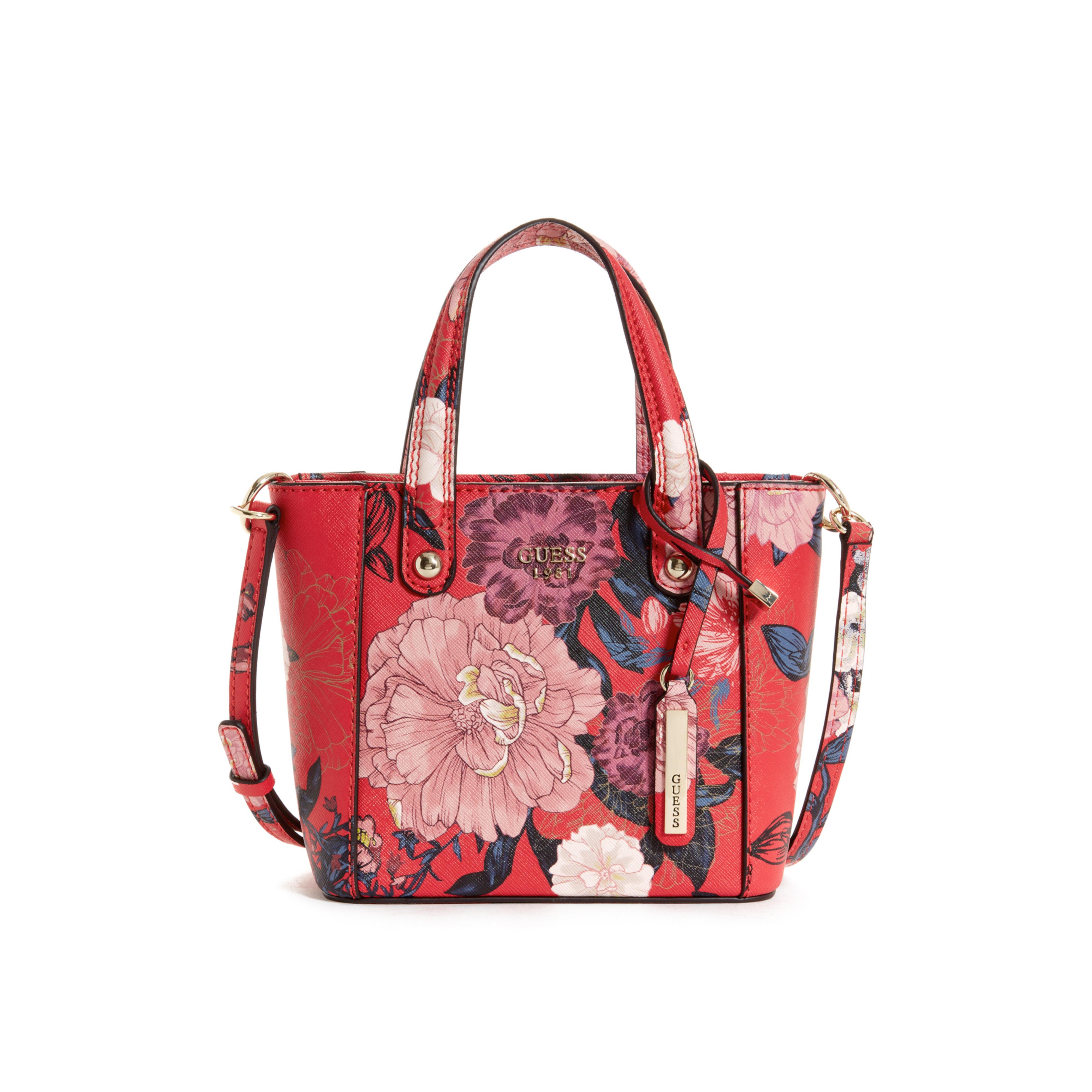 Lyst - Guess Kamryn Mini Floral Tote In Red